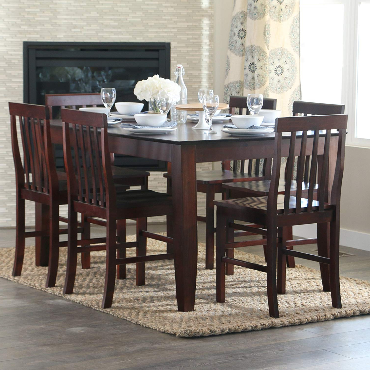 Favorite Walker Edison 7 Piece Espresso Wood Dining Set With Hearst Oak Wood Dining Tables (View 9 of 25)