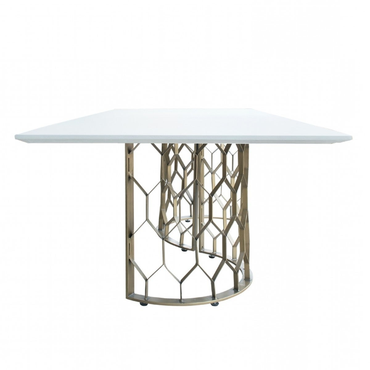 Faye Dining Tables Inside Most Popular Modrest Faye Modern White Concrete & Antique Brass Dining Table (View 9 of 25)