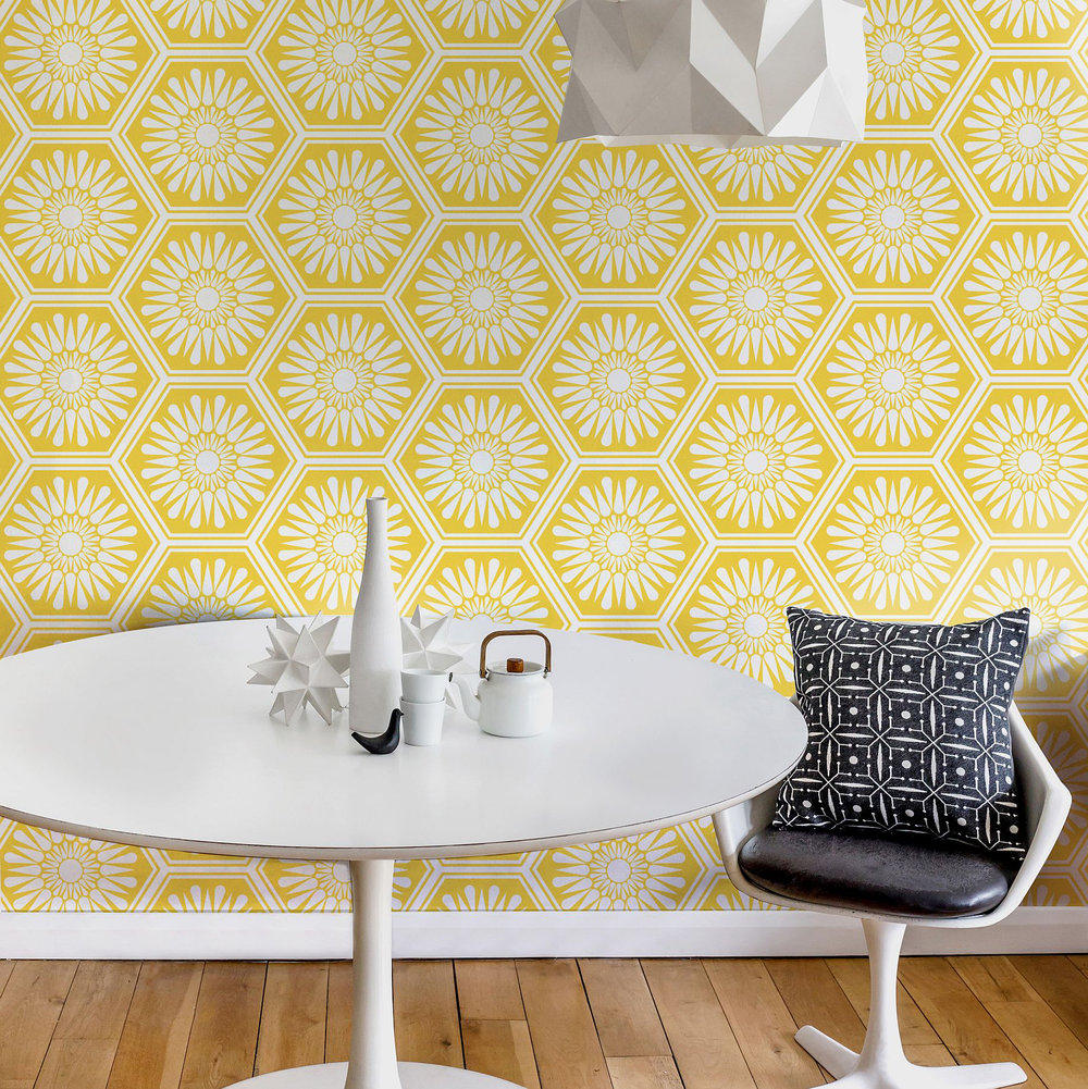 Faye Dining Tables With Preferred Layla Faye Hex Buttercup Yellow Wallpaper – Kitchen & Dining (View 25 of 25)