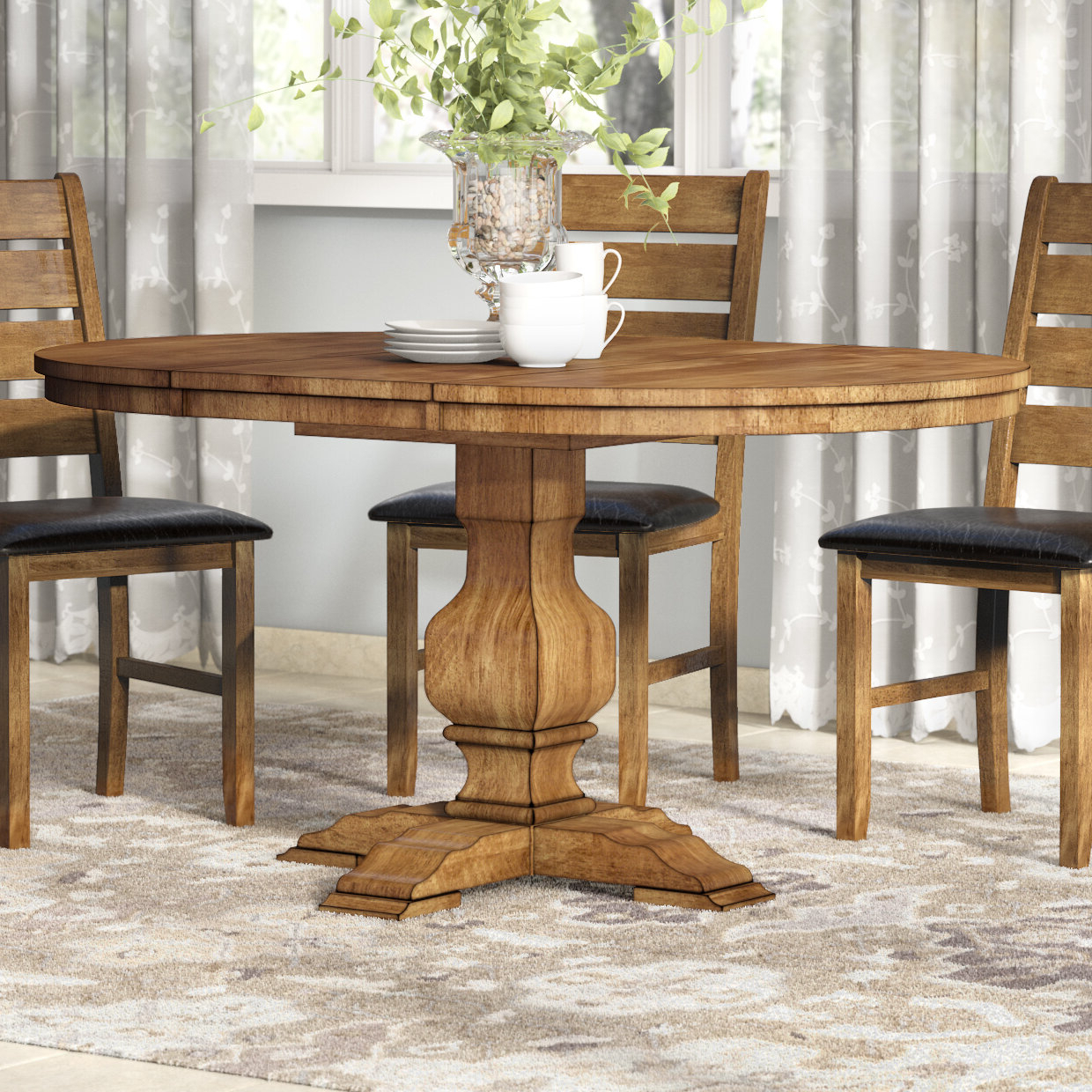 Fortville Extendable Solid Wood Dining Table Intended For 2020 Rustic Brown Lorraine Pedestal Extending Dining Tables (View 25 of 25)