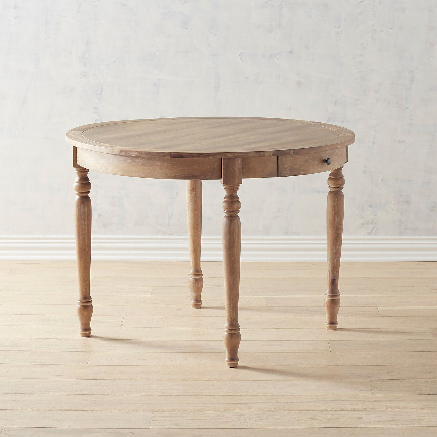 Grace Natural Stonewash Round Dining Table With Drawers In With Favorite Linden Round Pedestal Dining Tables (View 5 of 25)