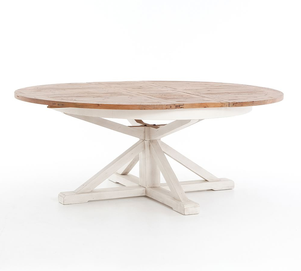 Hart Reclaimed Extending Pedestal Dining Table, Driftwood throughout Well known Black Olive Hart Reclaimed Pedestal Extending Dining Tables