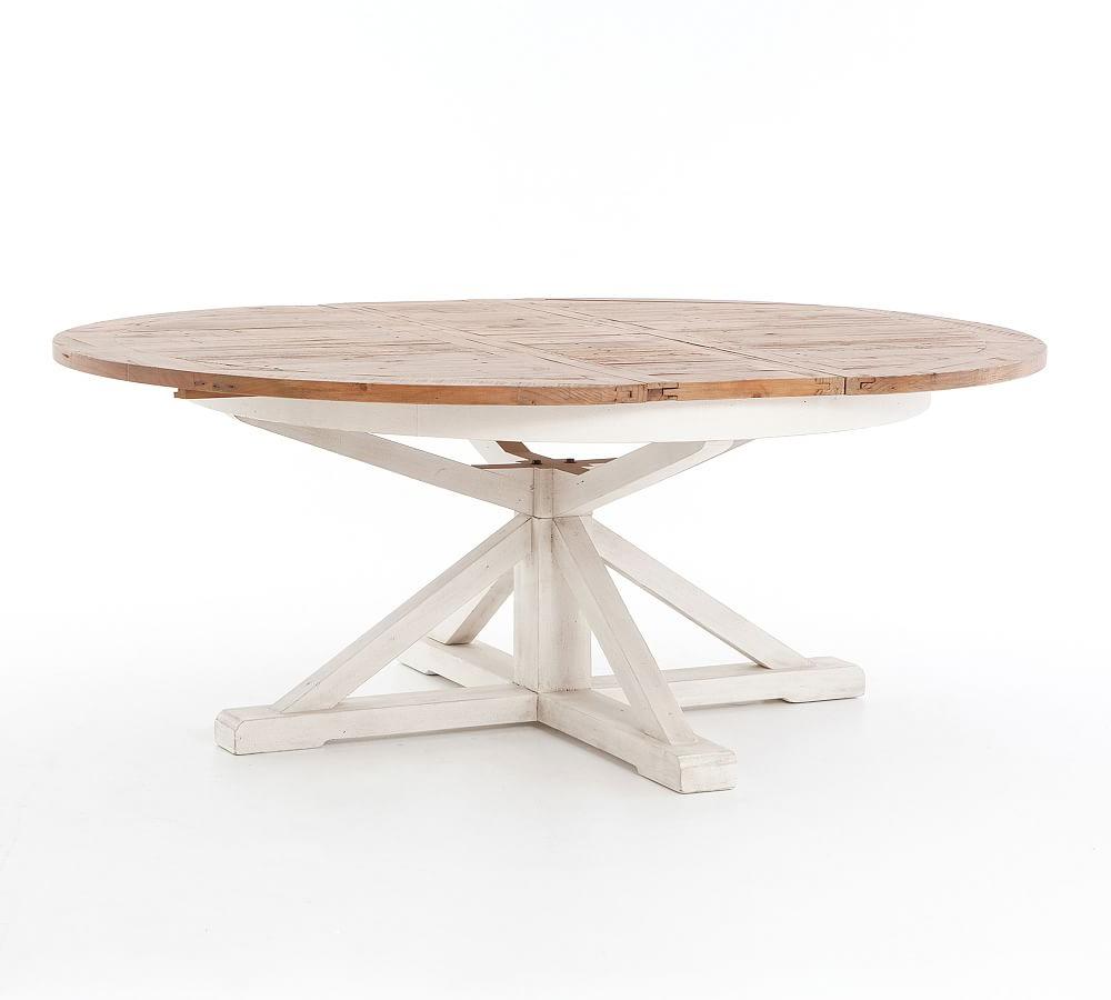 Hart Reclaimed Pedestal Extending Dining Table, Driftwood Regarding Well Liked Hart Reclaimed Wood Extending Dining Tables (View 4 of 25)