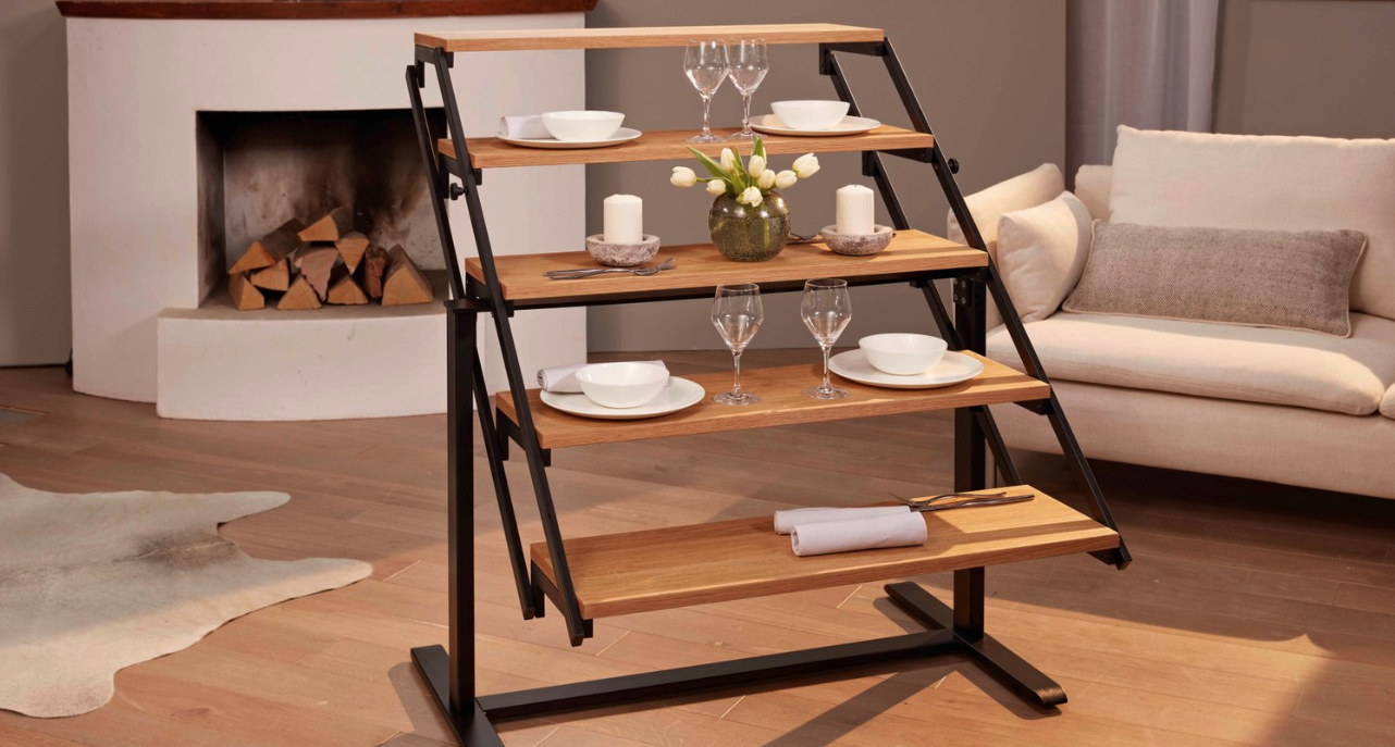Hearst Oak Wood Dining Tables In Latest Convertible Shelf Transforms Into A Dining Table – This (View 12 of 25)