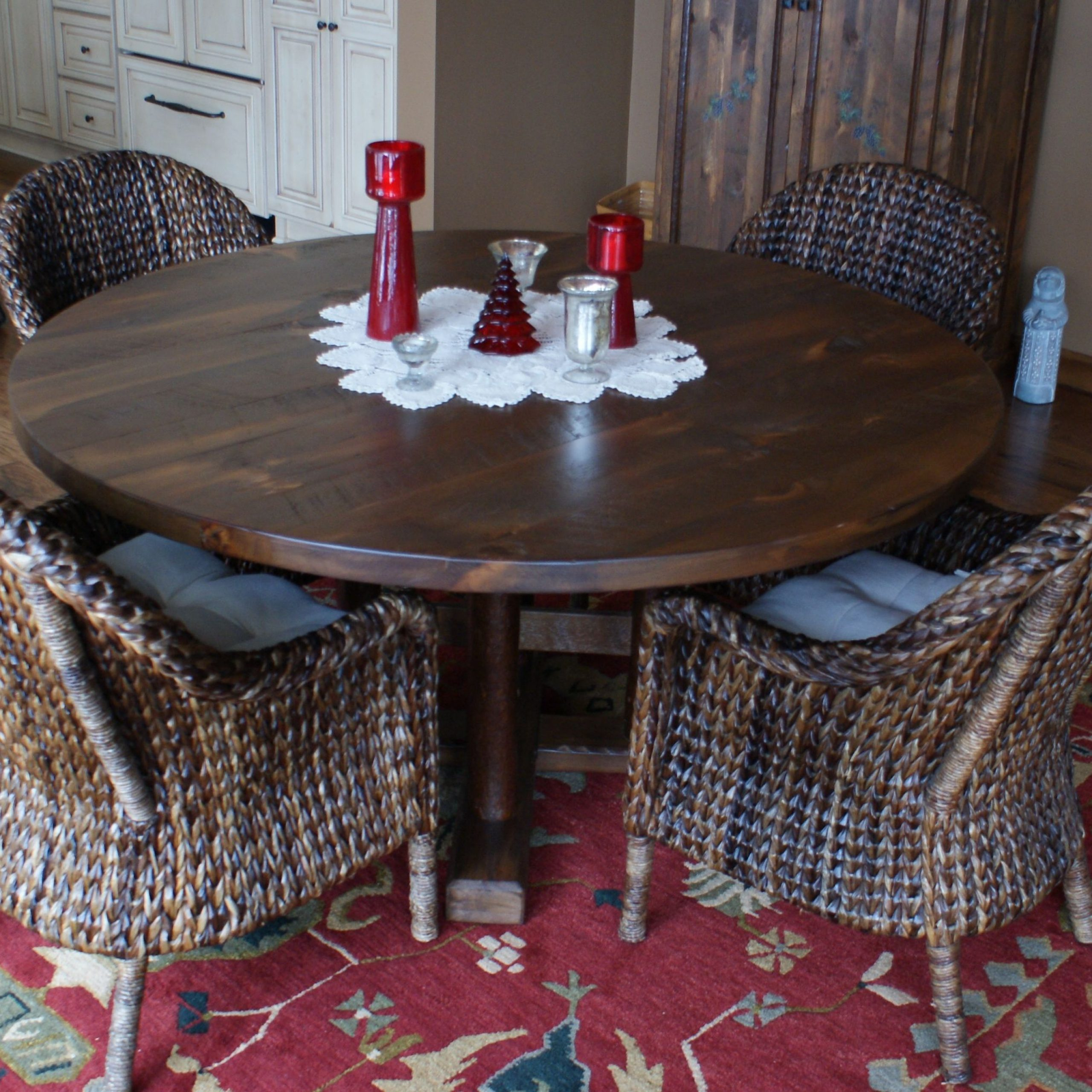 "Hearst Oak Wood Dining Tables Pertaining To Most Popular White Pine 60"" Dia Dining Room Table With Mika Finish (View 10 of 25)"