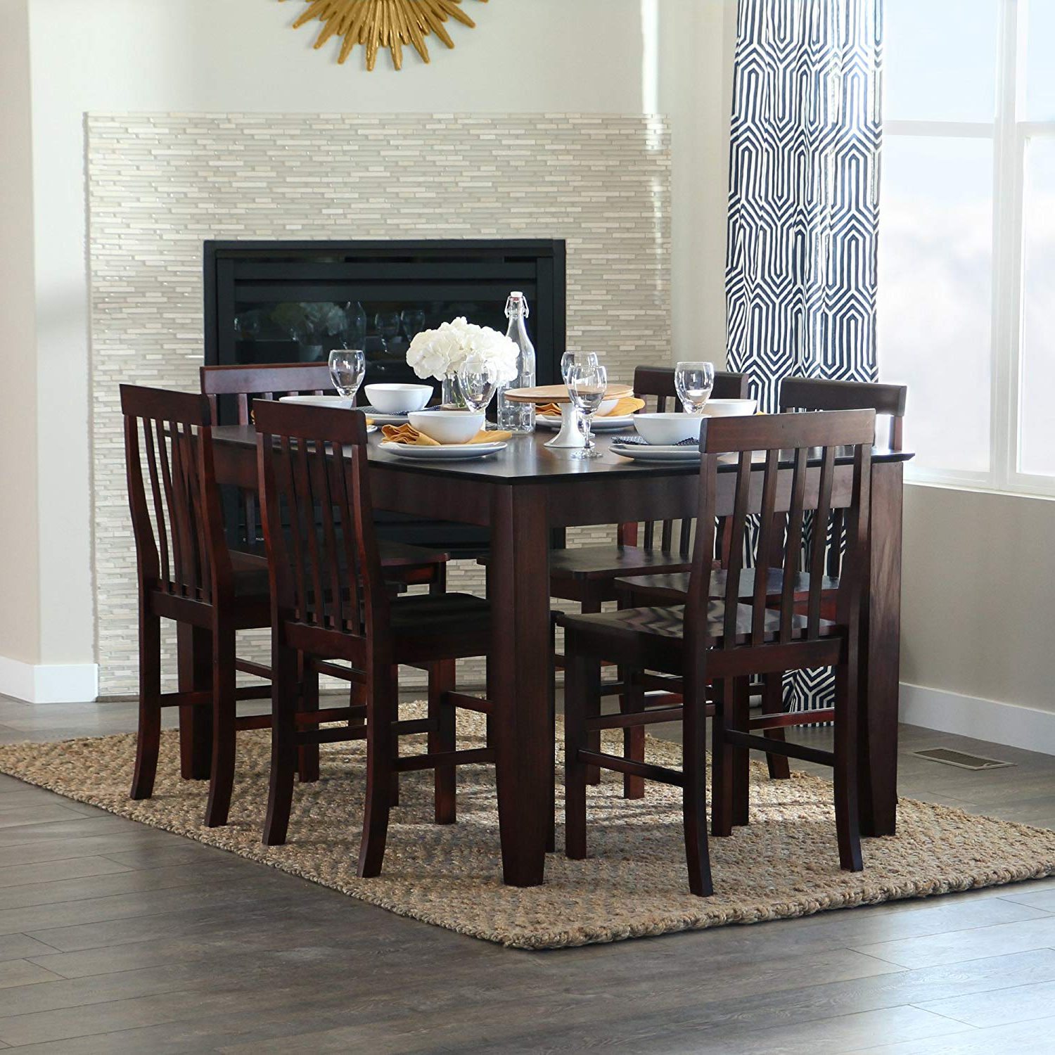 Hearst Oak Wood Dining Tables Within Most Popular Walker Edison 7 Piece Espresso Wood Dining Set (View 7 of 25)