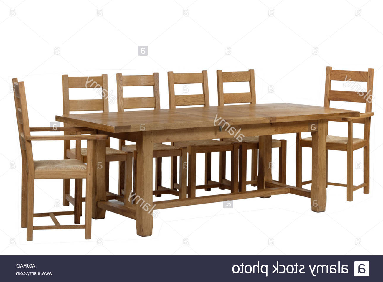 Hearst Oak Wood Dining Tables Within Most Up To Date Refectory Dining Table And Chairs Stock Photo: 3268524 – Alamy (View 5 of 25)