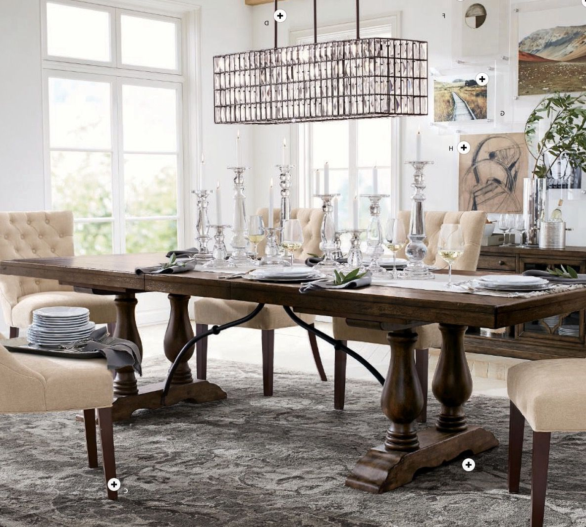 Hewn Oak Lorraine Extending Dining Tables Within Trendy Lorraine Dining Table In Hewn Oak, Hayes Tufted Chairs In (View 9 of 25)