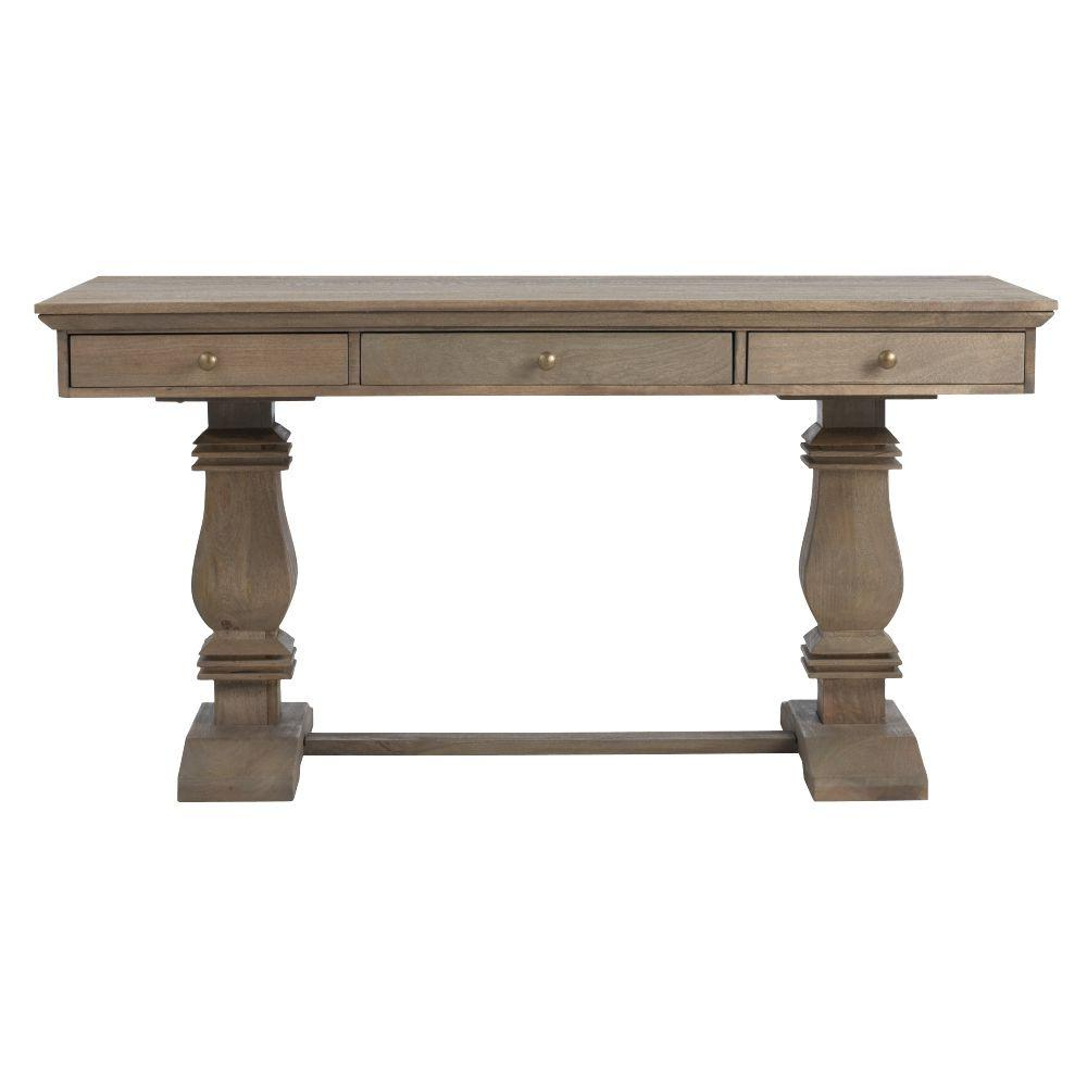 Home Decorators Collection Aldridge Extendable Dining Table with Current Gray Wash Banks Pedestal Extending Dining Tables