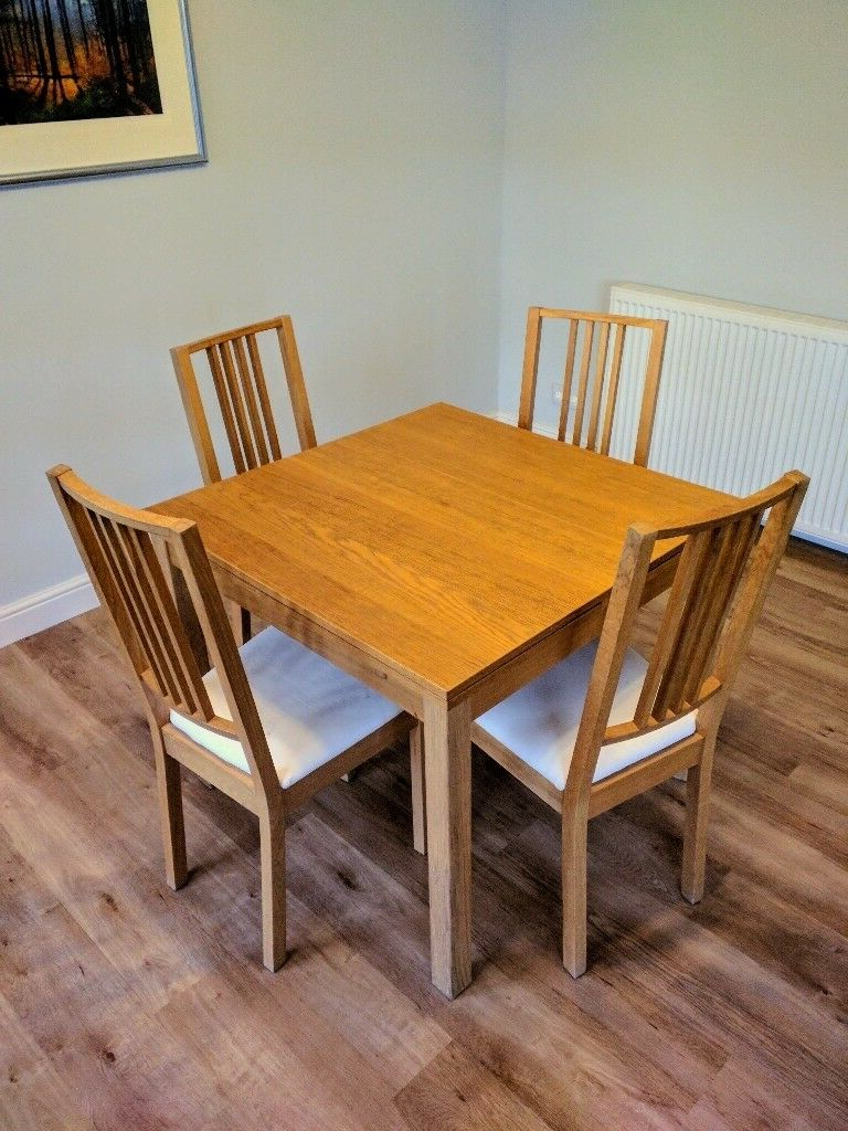 Ikea Bjursta Extendable Dining Table With 4 Chairs