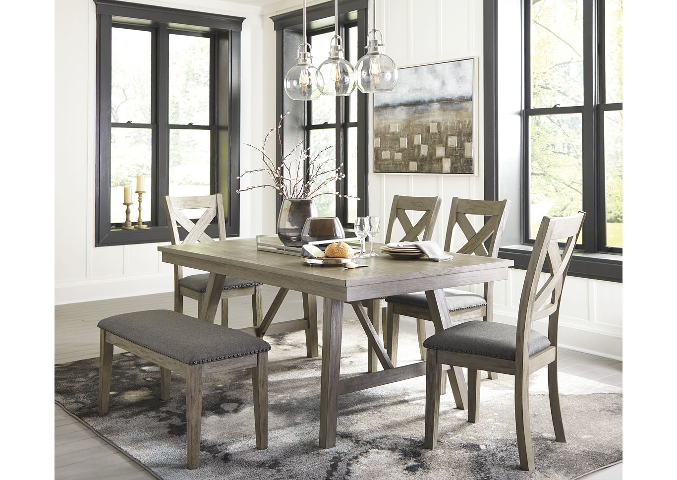 Johnson Round Pedestal Dining Tables Regarding Favorite Johnson's Furniture Aldwin Gray Dining Table W/4 Side Chairs (View 17 of 25)
