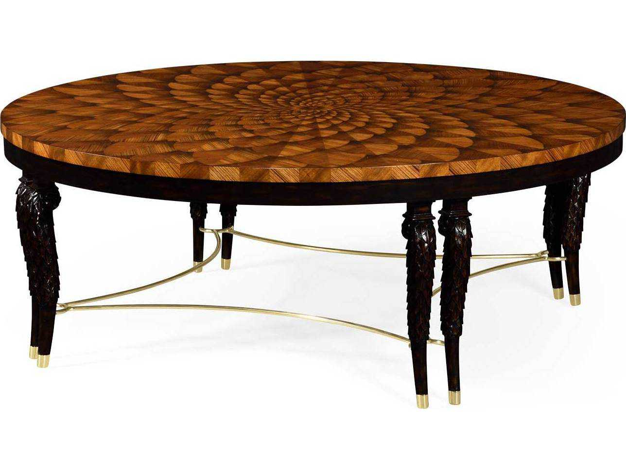 Jonathan Charles Icarus Medium Zebrano Feather Inlay Hand Carved Coffee  Table With Brass Stretcher Throughout Most Recently Released Icarus Round Bar Tables (View 16 of 25)
