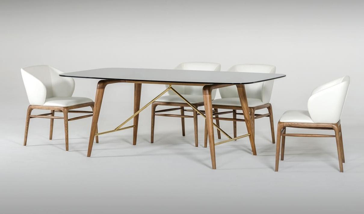 Kipling Rectangular Dining Tables inside Widely used Modrest Kipling Modern Dining Room Set In Walnut & Cream