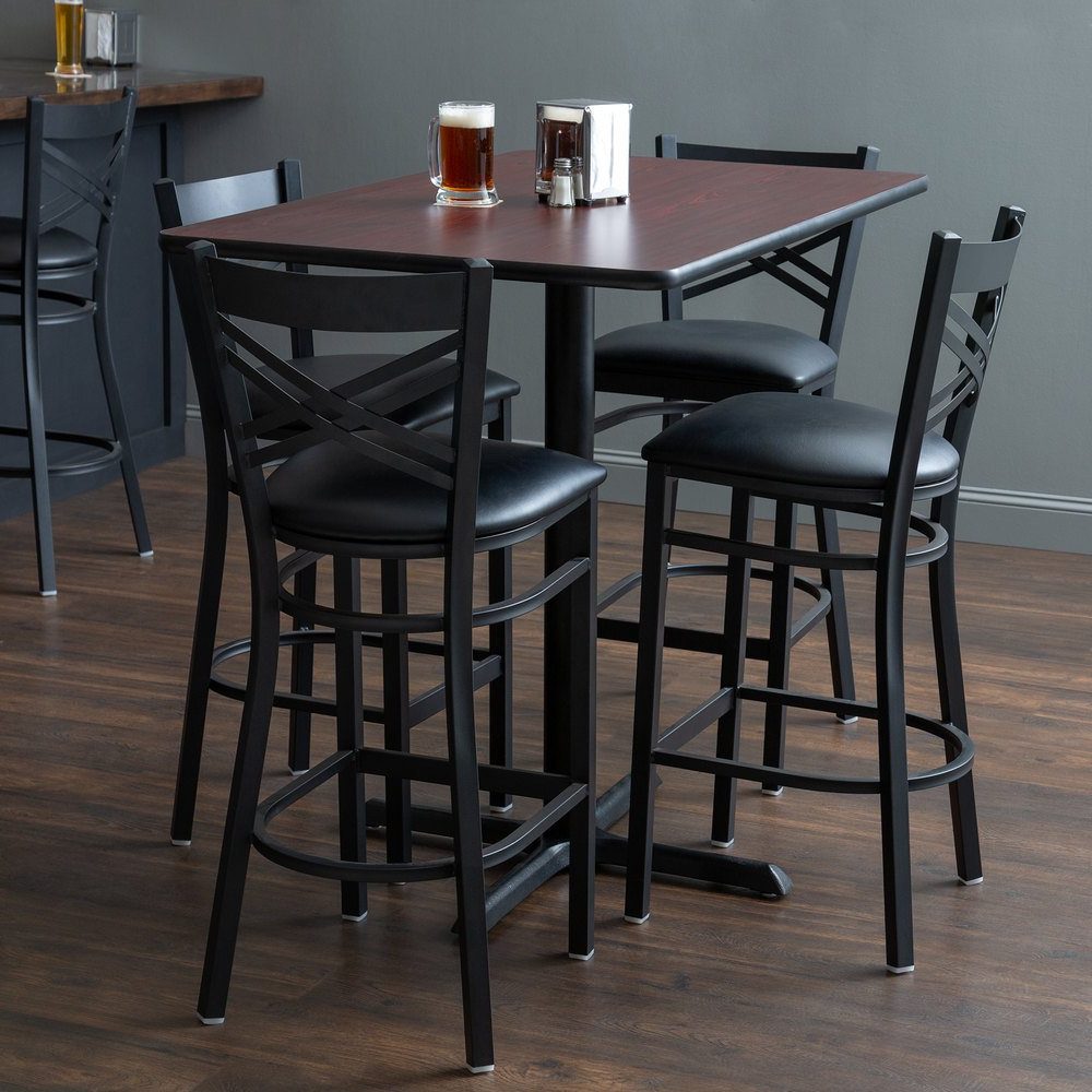 "Lancaster Table & Seating 30"" X 48"" Reversible Cherry / Black Bar Height  Dining Set Intended For 2019 Ingred Extending Dining Tables (View 12 of 25)"