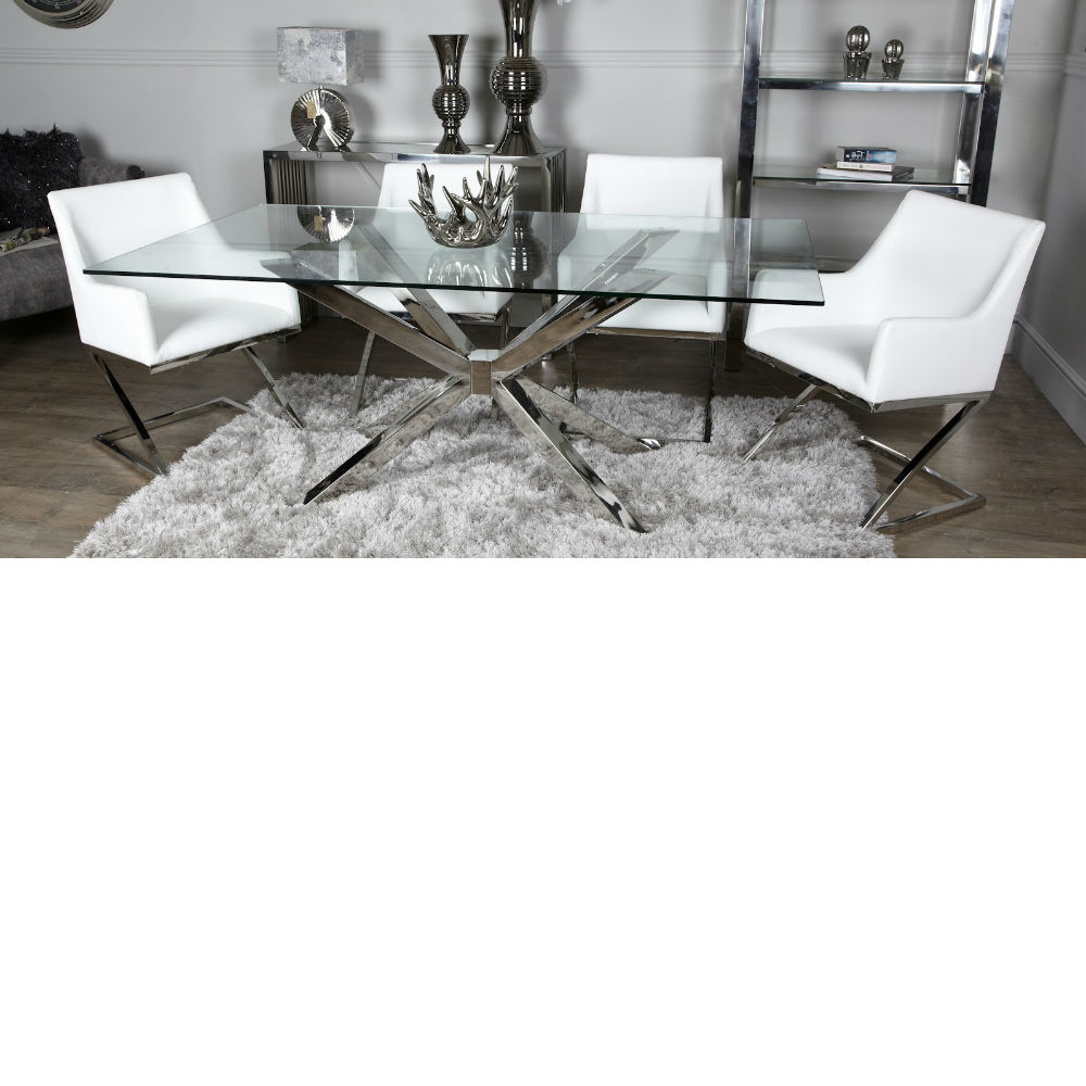 Latest Avery Round Dining Tables Within Avery Glass Chrome Dining Table Inc 4 White Chairs (View 18 of 25)