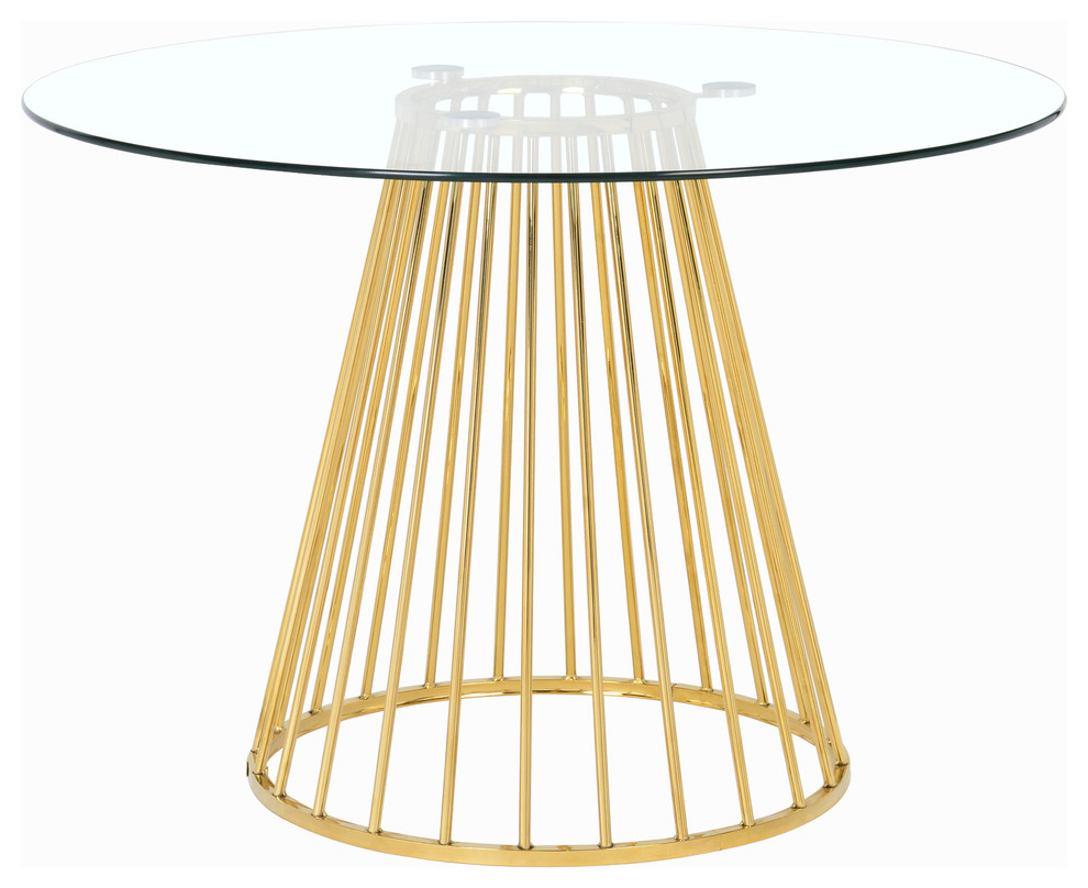 Latest Gio Gold Dining Table, Gold Base Inside Aztec Round Pedestal Dining Tables (View 12 of 25)