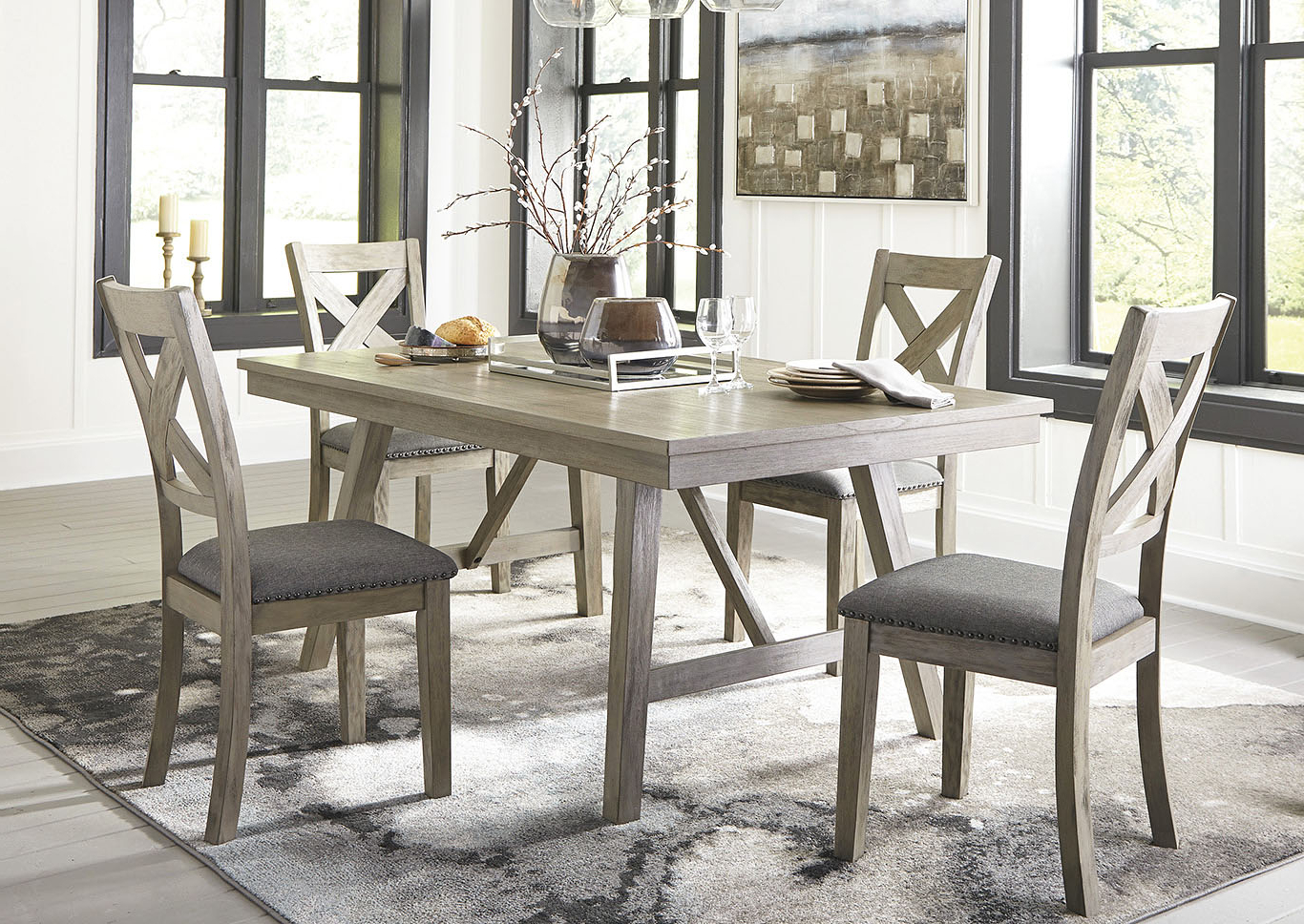 Latest Johnson's Furniture Aldwin Gray Dining Table W/4 Side Chairs Pertaining To Johnson Round Pedestal Dining Tables (View 16 of 25)