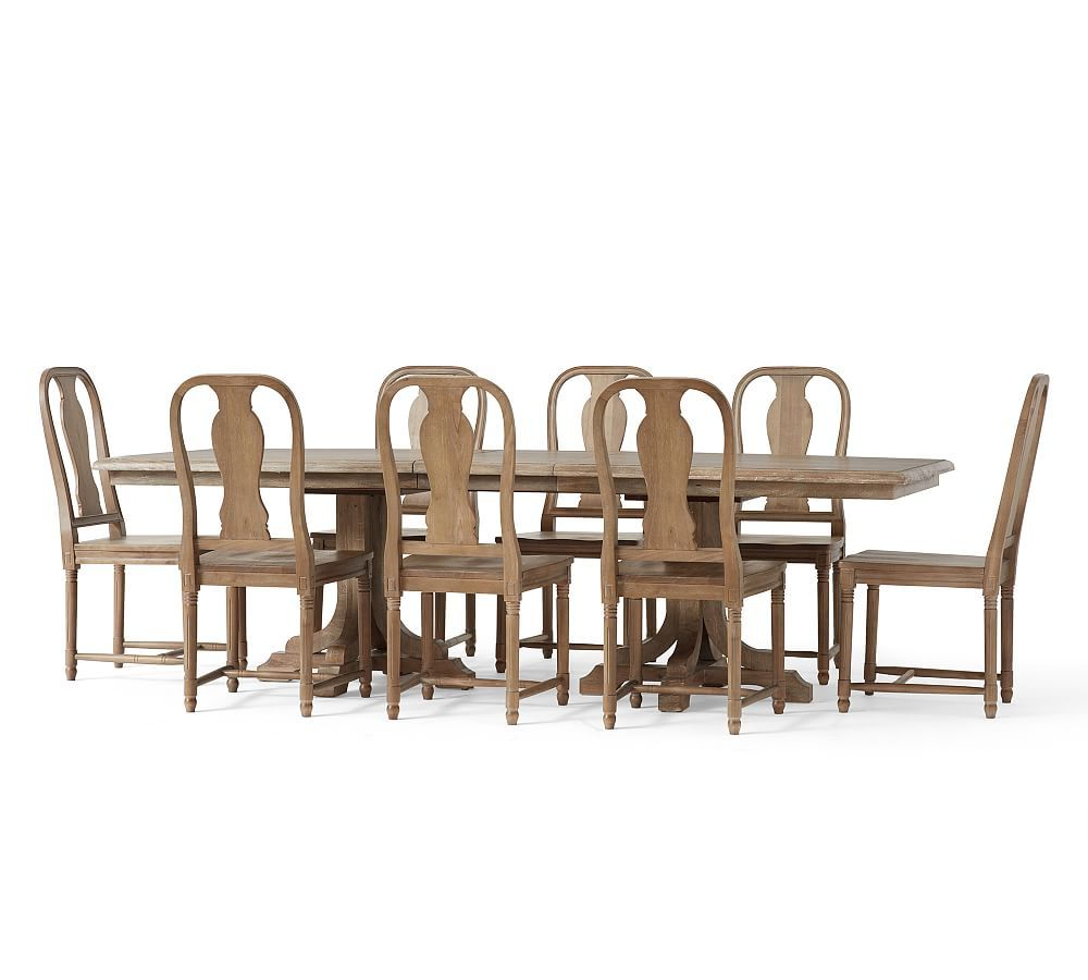 Linden Extending Dining Table & 8 Mabry Chairs Set, Belgian With Famous Belgian Gray Linden Extending Dining Tables (View 4 of 25)