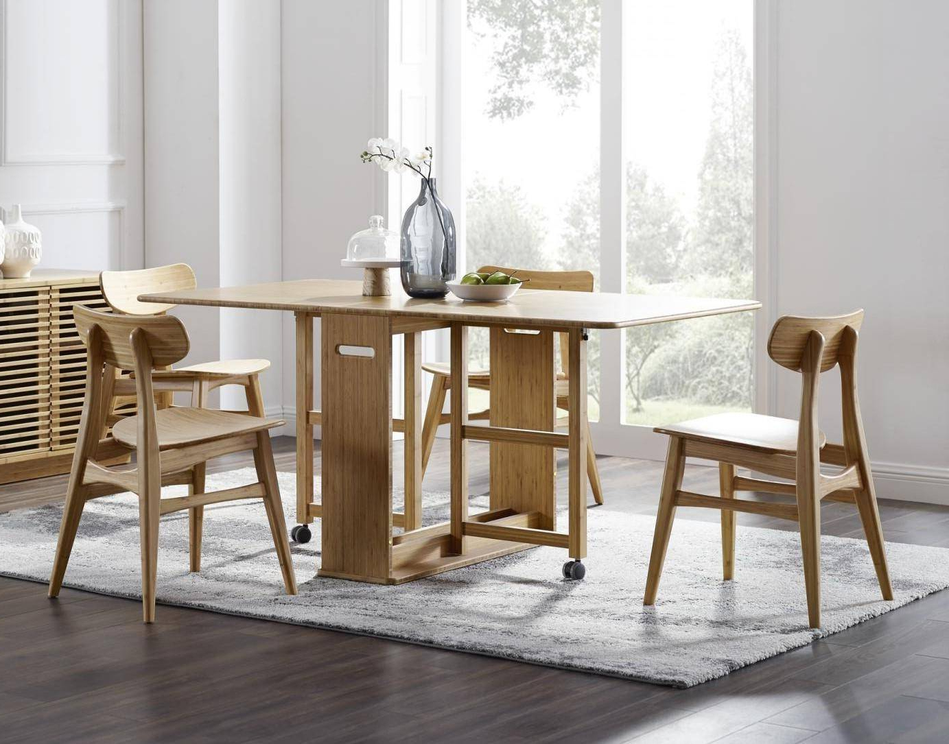 Linden Round Pedestal Dining Tables Pertaining To Well Known Bamboo Dining Table Set 5 Pcs Caramelized Modern Linden (View 20 of 25)