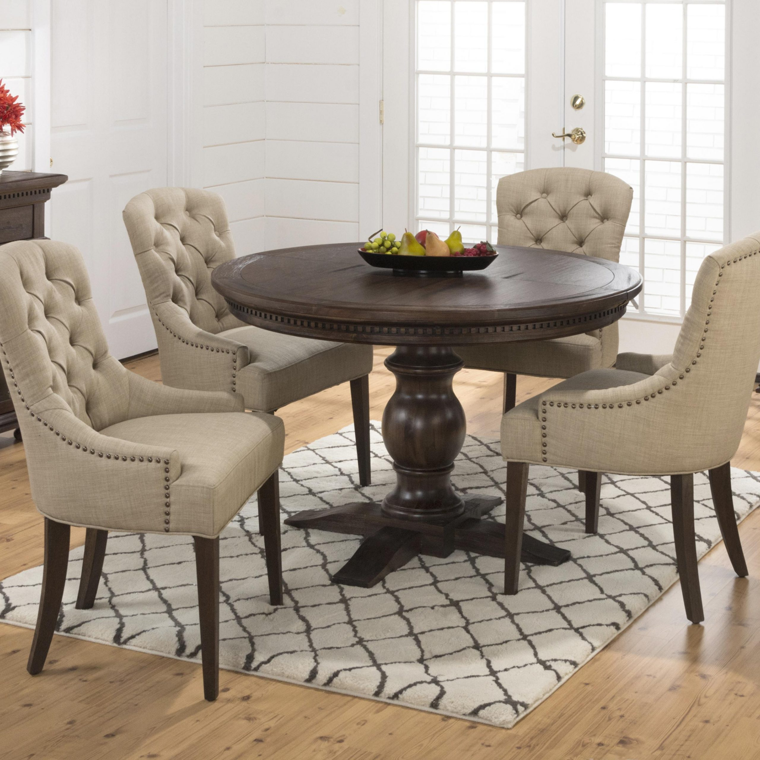 Linden Round Pedestal Dining Tables Regarding Well Known Jofran Geneva Hills Table And Upholstered Chair Set (View 6 of 25)