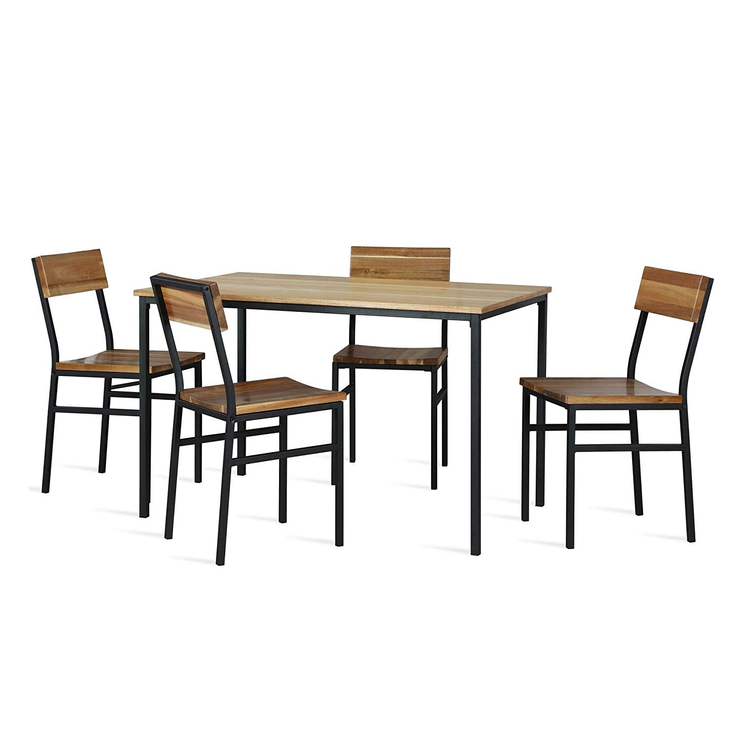 Linden Round Pedestal Dining Tables Within Preferred Novogratz Linden 5 Piece Wood And Metal, Natural, Gray Dining Set, (View 8 of 25)