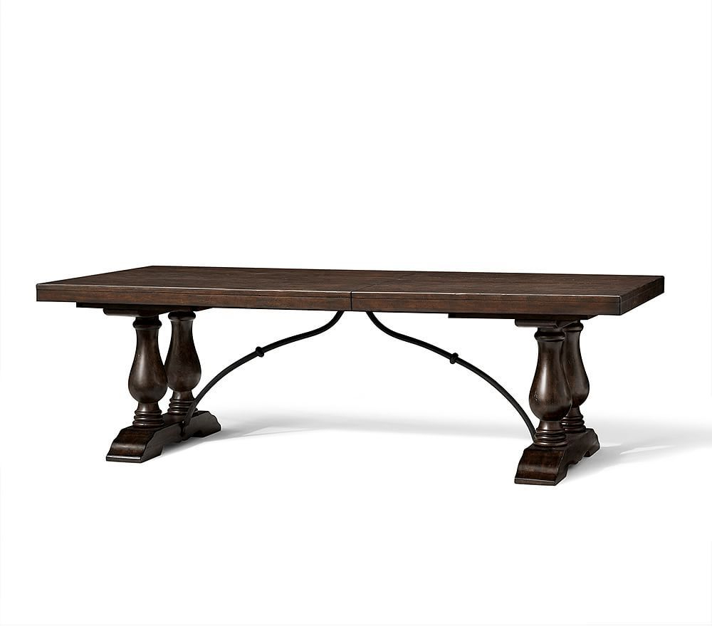 Featured Photo of Rustic Brown Lorraine Pedestal Extending Dining Tables