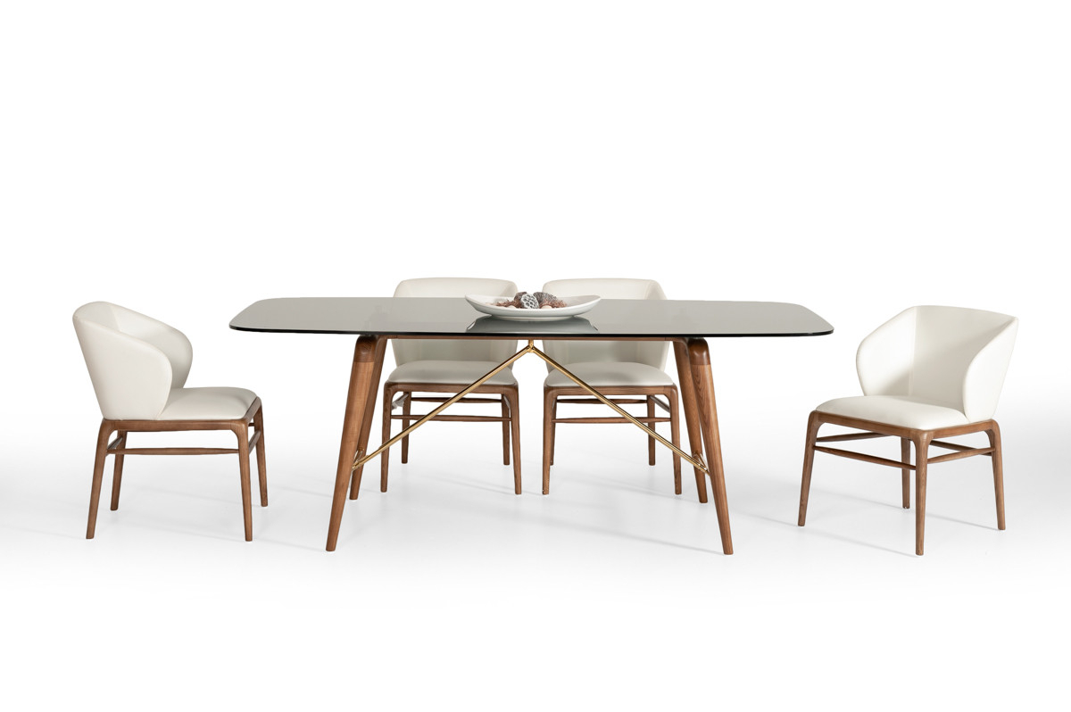 Modrest Kipling Modern Walnut Dining Set For Best And Newest Kipling Rectangular Dining Tables (View 2 of 25)