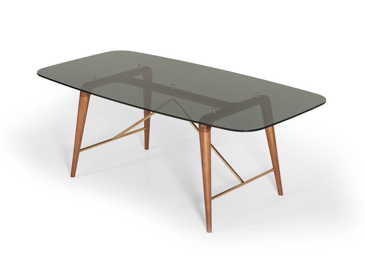Modrest Kipling Modern Walnut Dining Set For Latest Kipling Rectangular Dining Tables (View 7 of 25)
