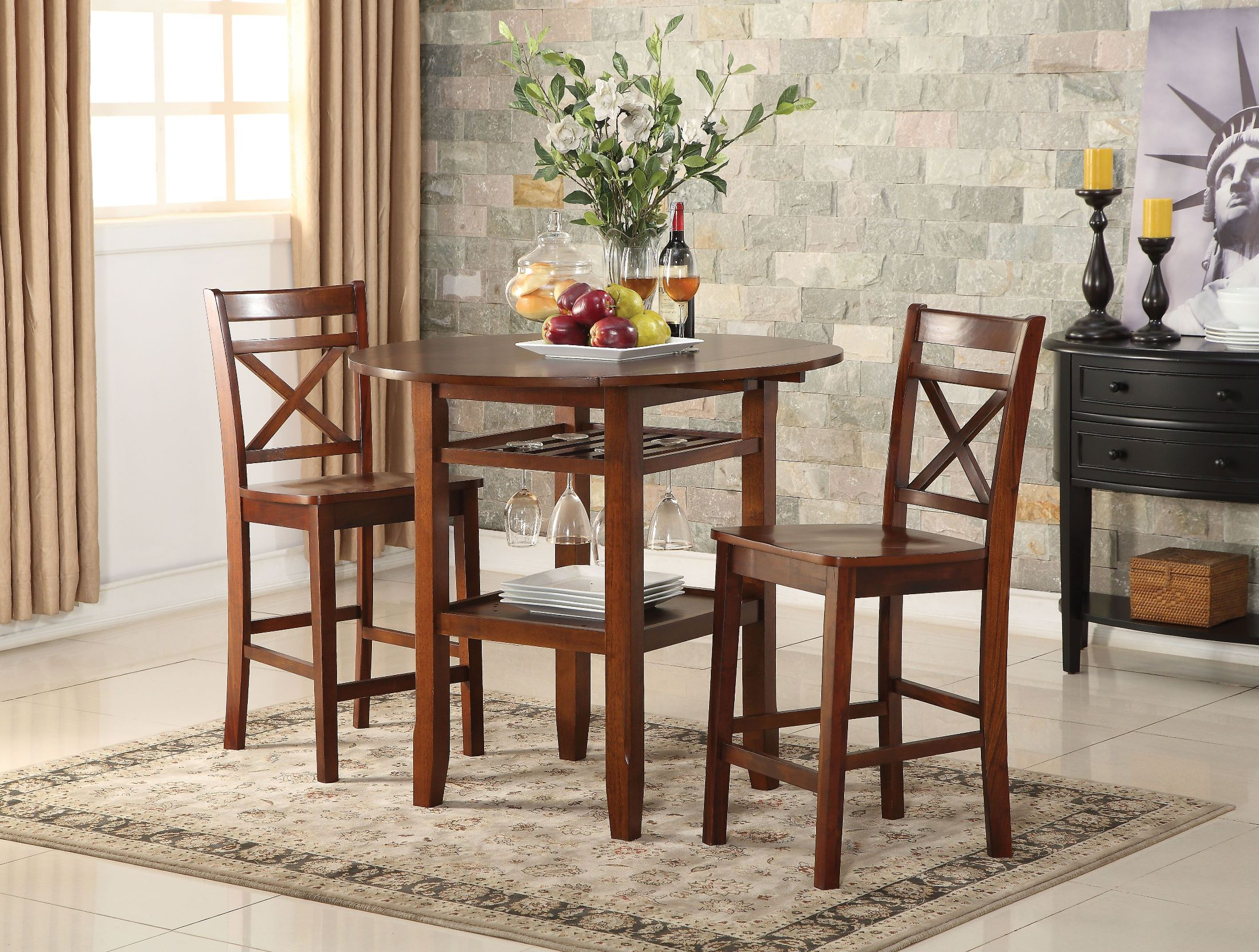 Montalvo Round Dining Tables Inside Well Known Tartys Cherry Round Counter Height Dining Room Set (View 25 of 25)