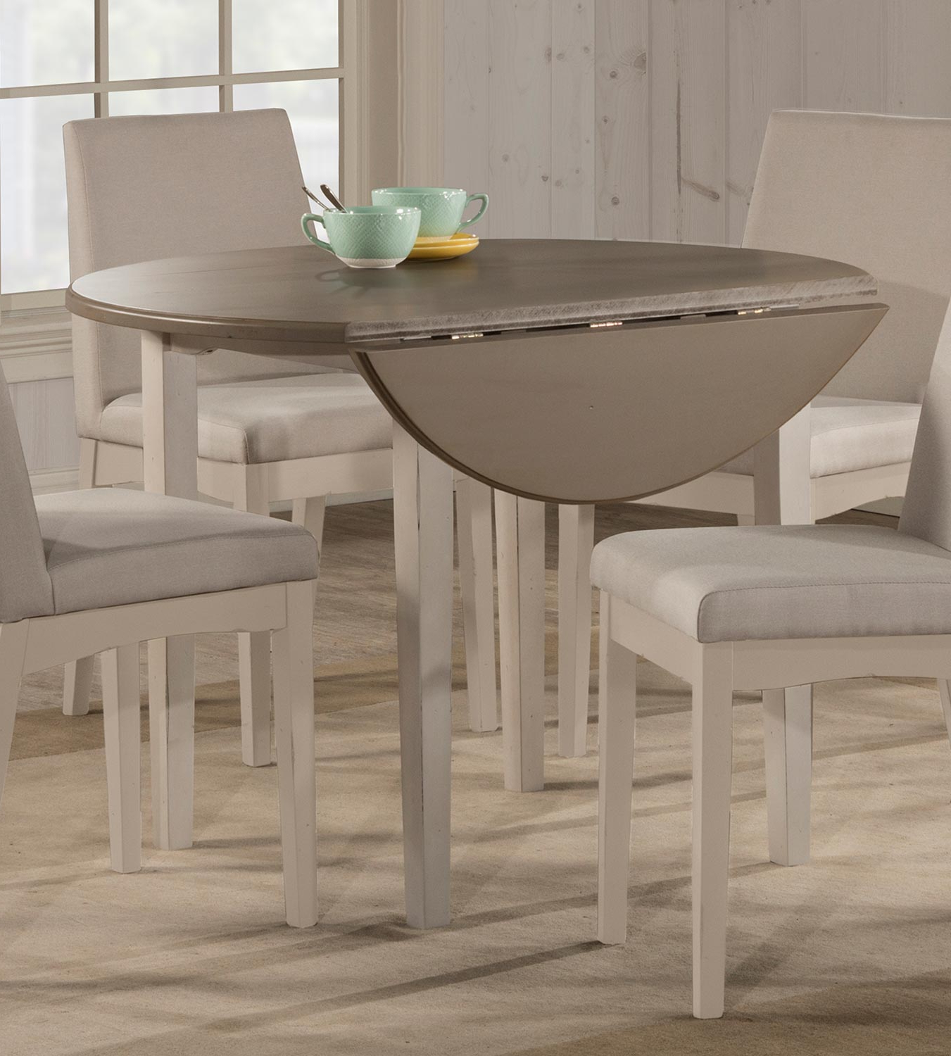 Most Current Antique White Shayne Drop Leaf Kitchen Tables Throughout White Round Drop Leaf Table – Martinique (View 11 of 25)