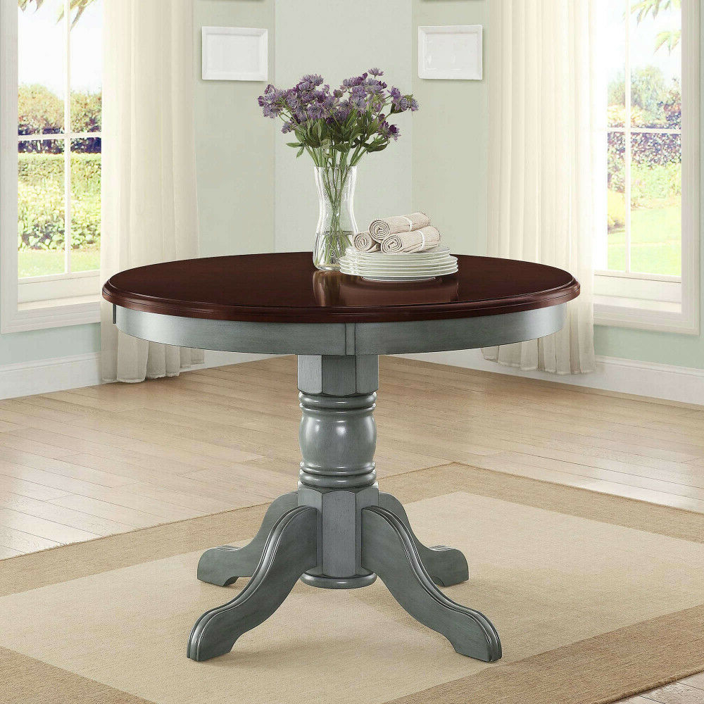 Most Current Aztec Round Pedestal Dining Tables Regarding Details About Cambridge Farm House Dining Table Rustic Antique Blue Round  Table Mocha Top (View 16 of 25)