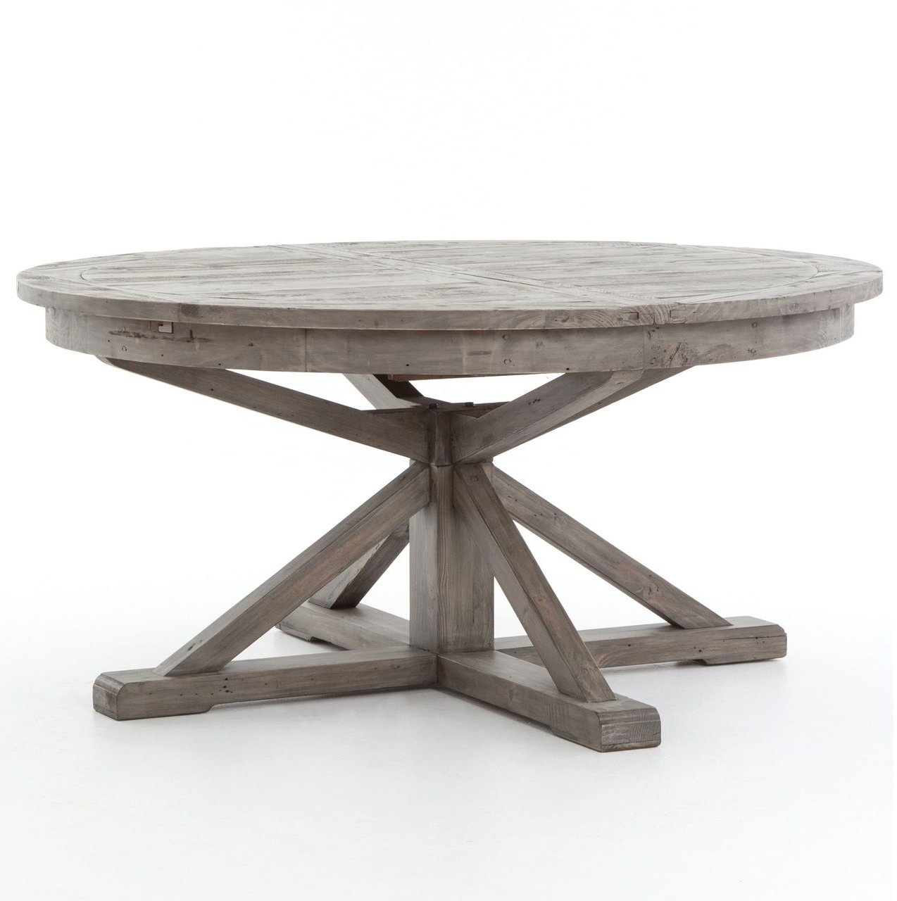 "Most Current Cintra Reclaimed Wood Extending Round Dining Table 63"" Gray Regarding Gray Wash Benchwright Extending Dining Tables (View 6 of 25)"