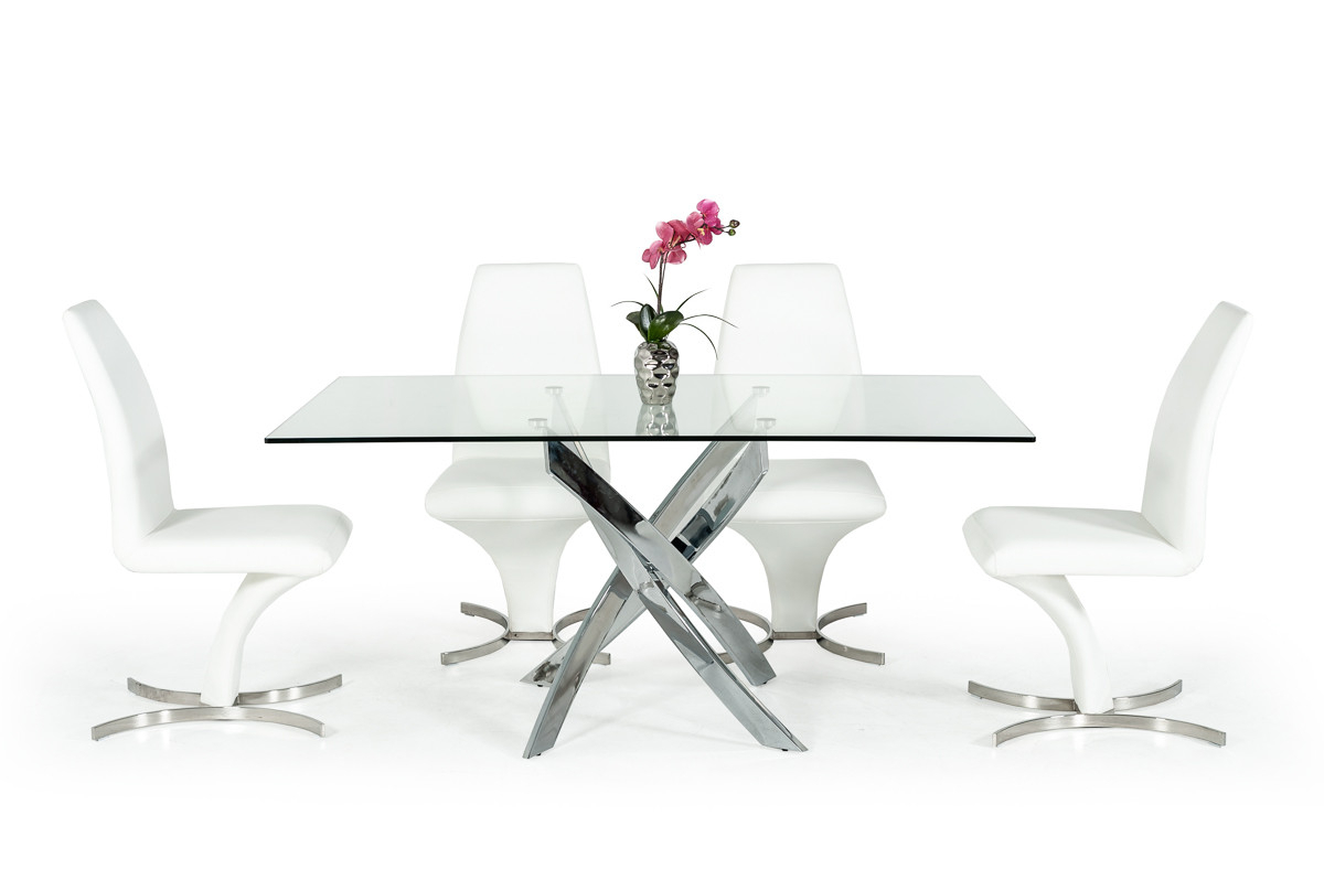 Most Current Kipling Rectangular Dining Tables Regarding Modrest Pyrite Modern Rectangular Glass Dining Table (View 20 of 25)