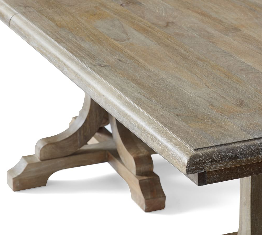 Most Popular Gray Wash Benchwright Extending Dining Tables For Linden Extending Dining Table (View 7 of 25)