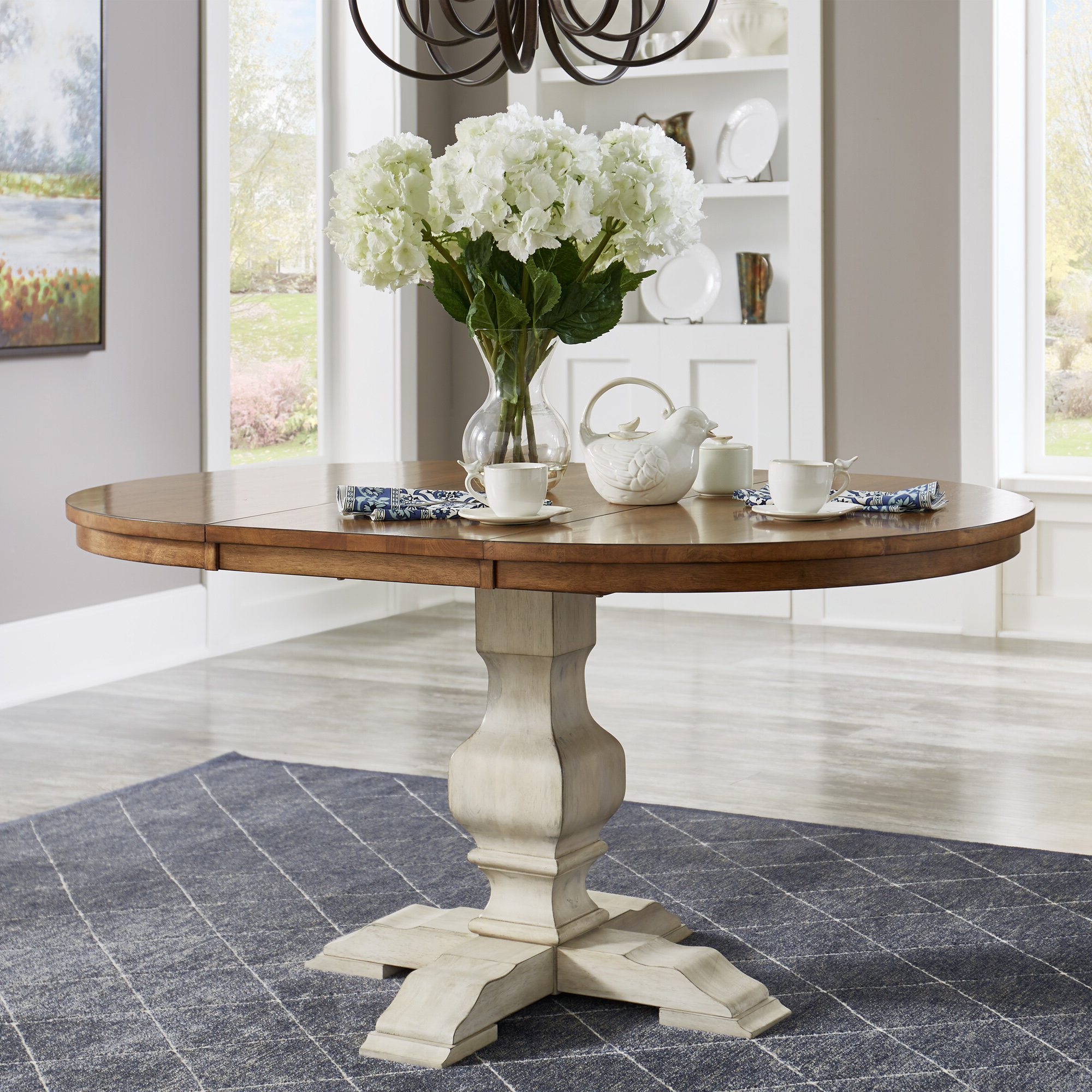 Most Popular Rustic Brown Lorraine Pedestal Extending Dining Tables Regarding Fortville Extendable Solid Wood Dining Table (View 24 of 25)