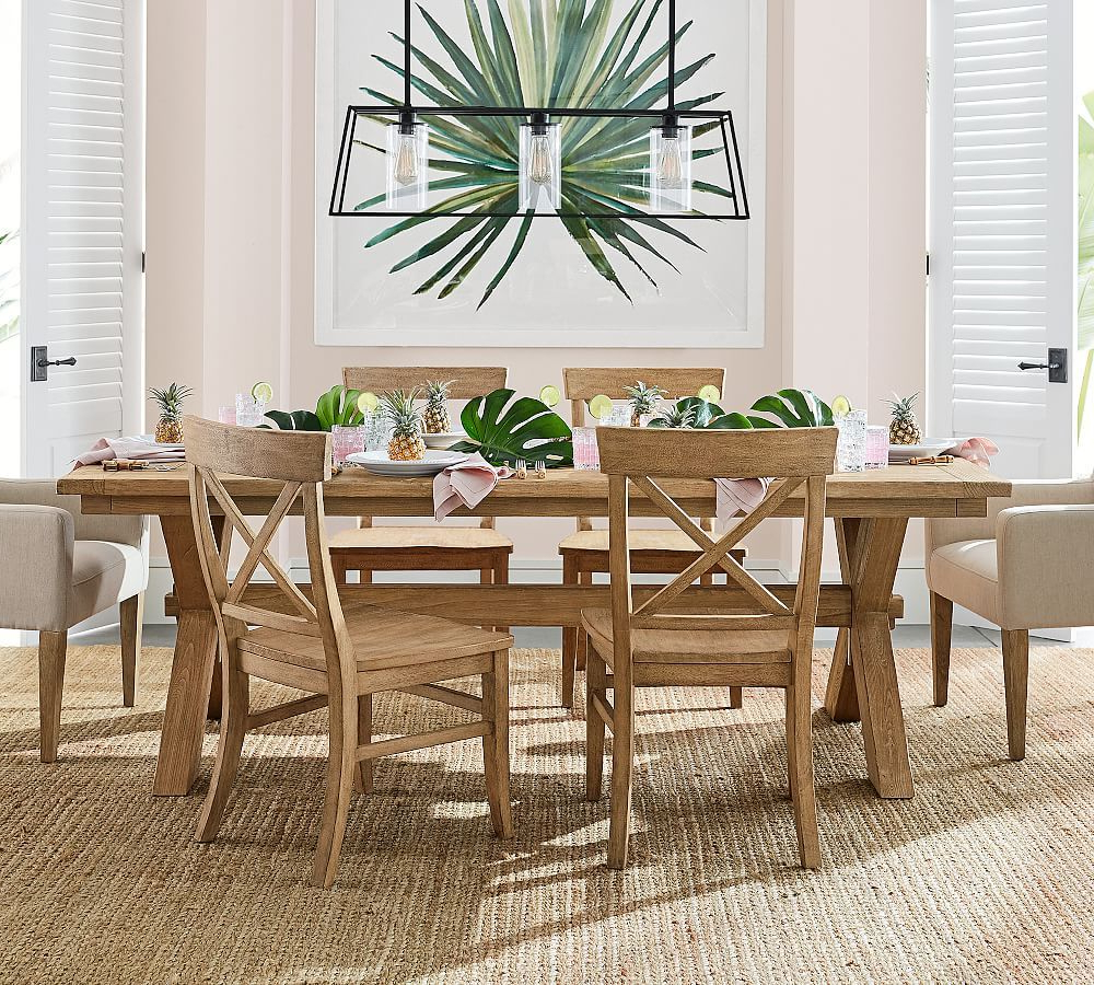 """Most Popular Toscana Extending Dining Table, Tuscan Chestnut, 60"""" – 84"""" L Throughout Seadrift Benchwright Extending Dining Tables (View 21 of 25)"""