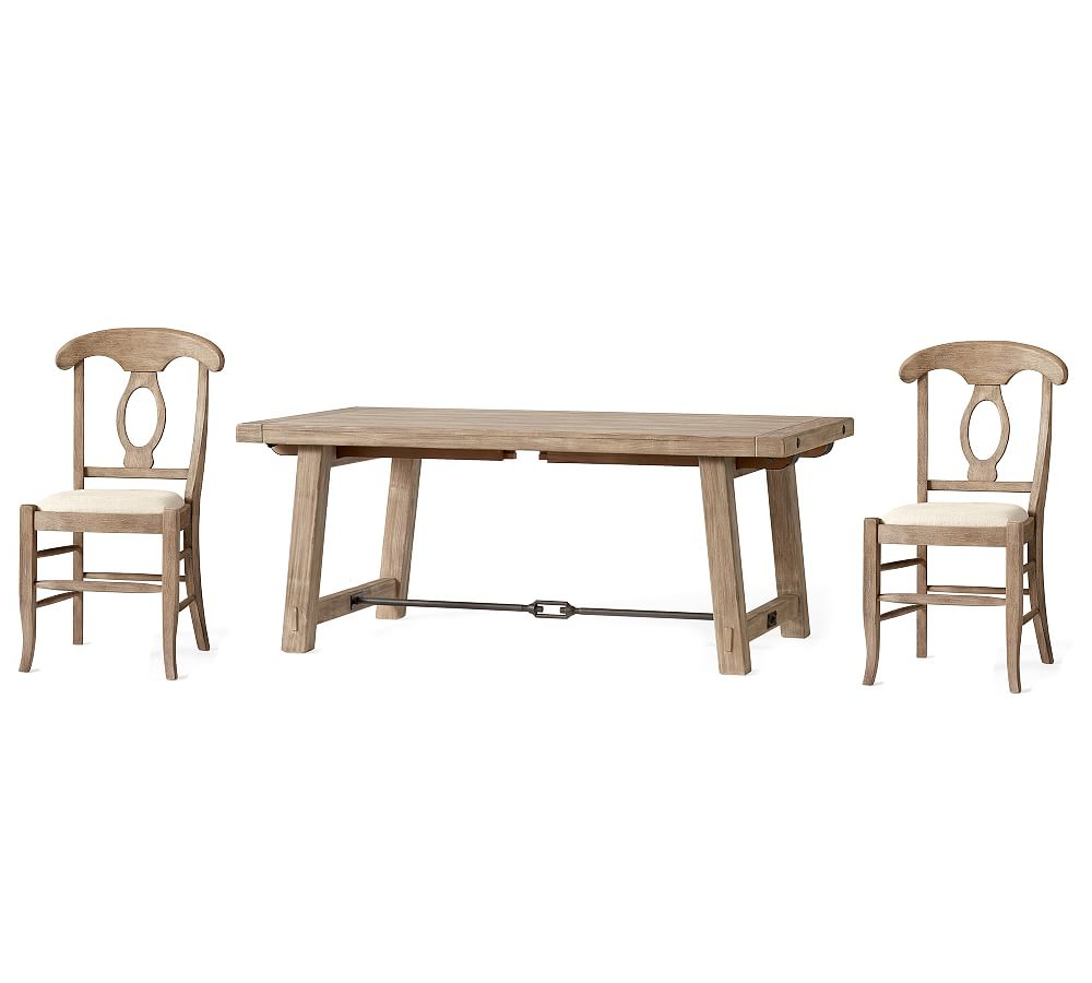 Most Recent Benchwright Small Extending Dining Table & 4 Napoleon Chairs Inside Seadrift Benchwright Extending Dining Tables (View 8 of 25)