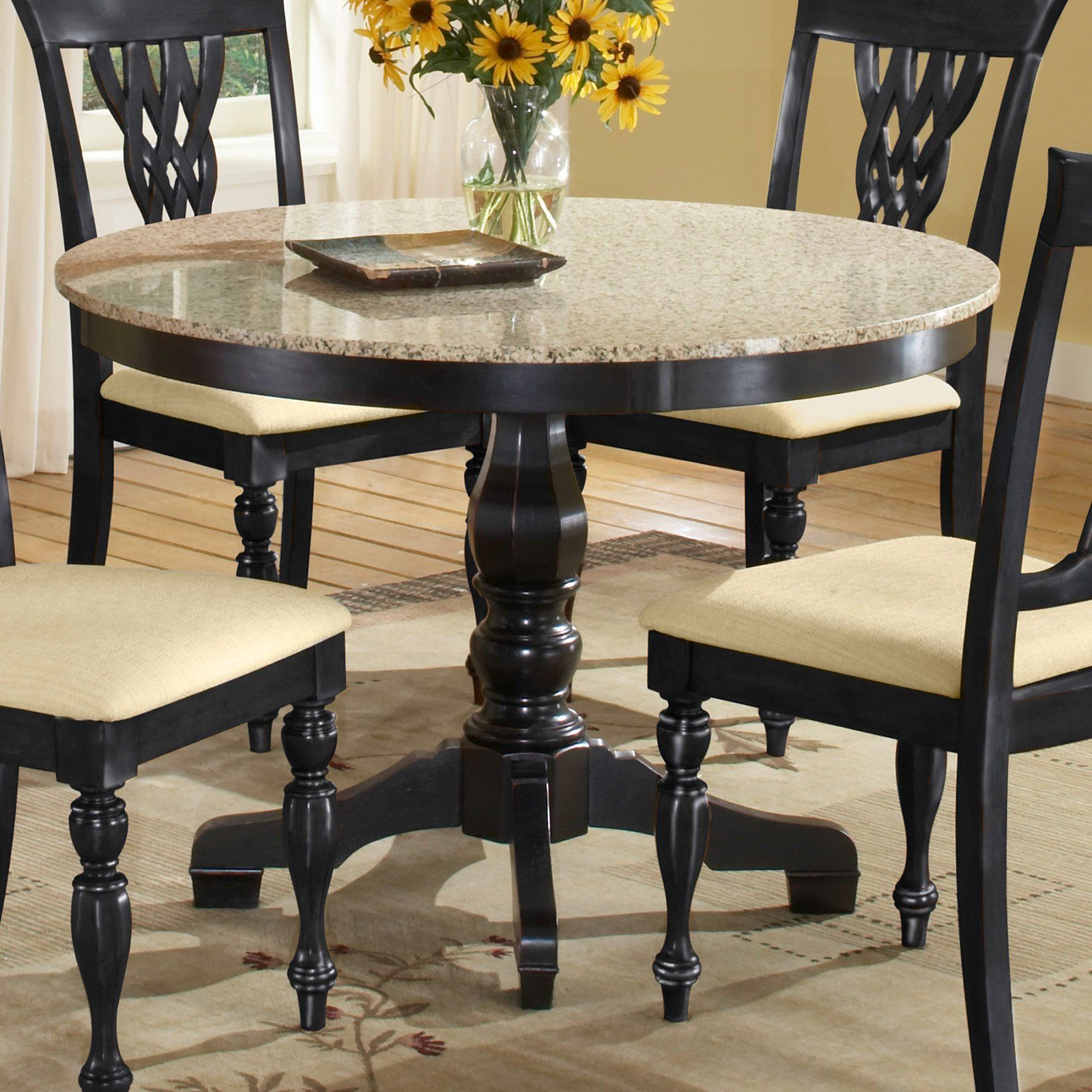 Most Recent Johnson Round Pedestal Dining Tables Pertaining To Embassy Round Pedestal Table With 42 Inch Granite Top Black (View 5 of 25)
