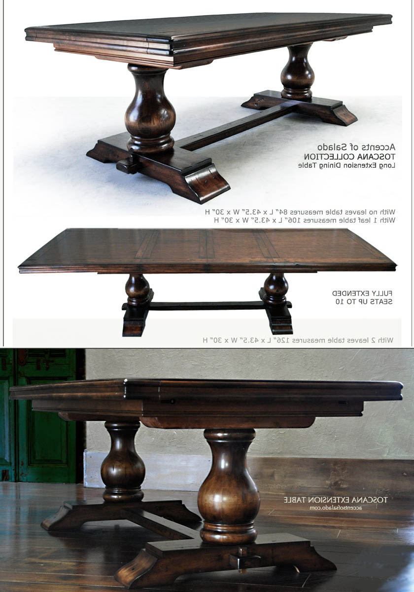 Most Recently Released Tuscan Chestnut Toscana Pedestal Extending Dining Tables Regarding Tuscan Dining Room Tables Extra Long Dining Tables Round (View 21 of 25)