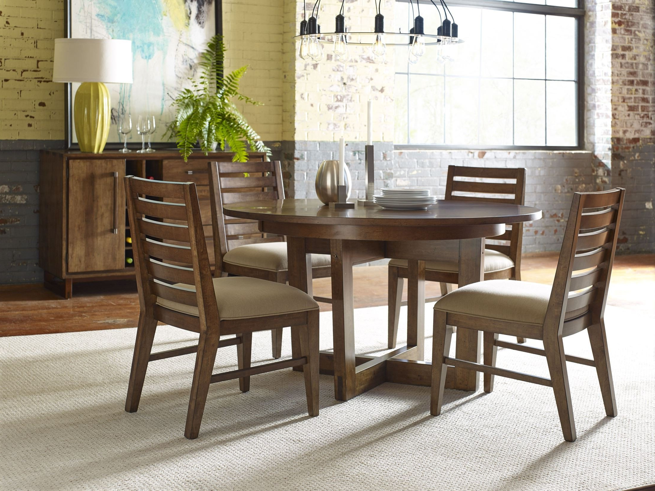 """Most Up To Date Traverse Brown 54"""" Drop Leaf Round Dining Table For Montalvo Round Dining Tables (View 15 of 25)"""