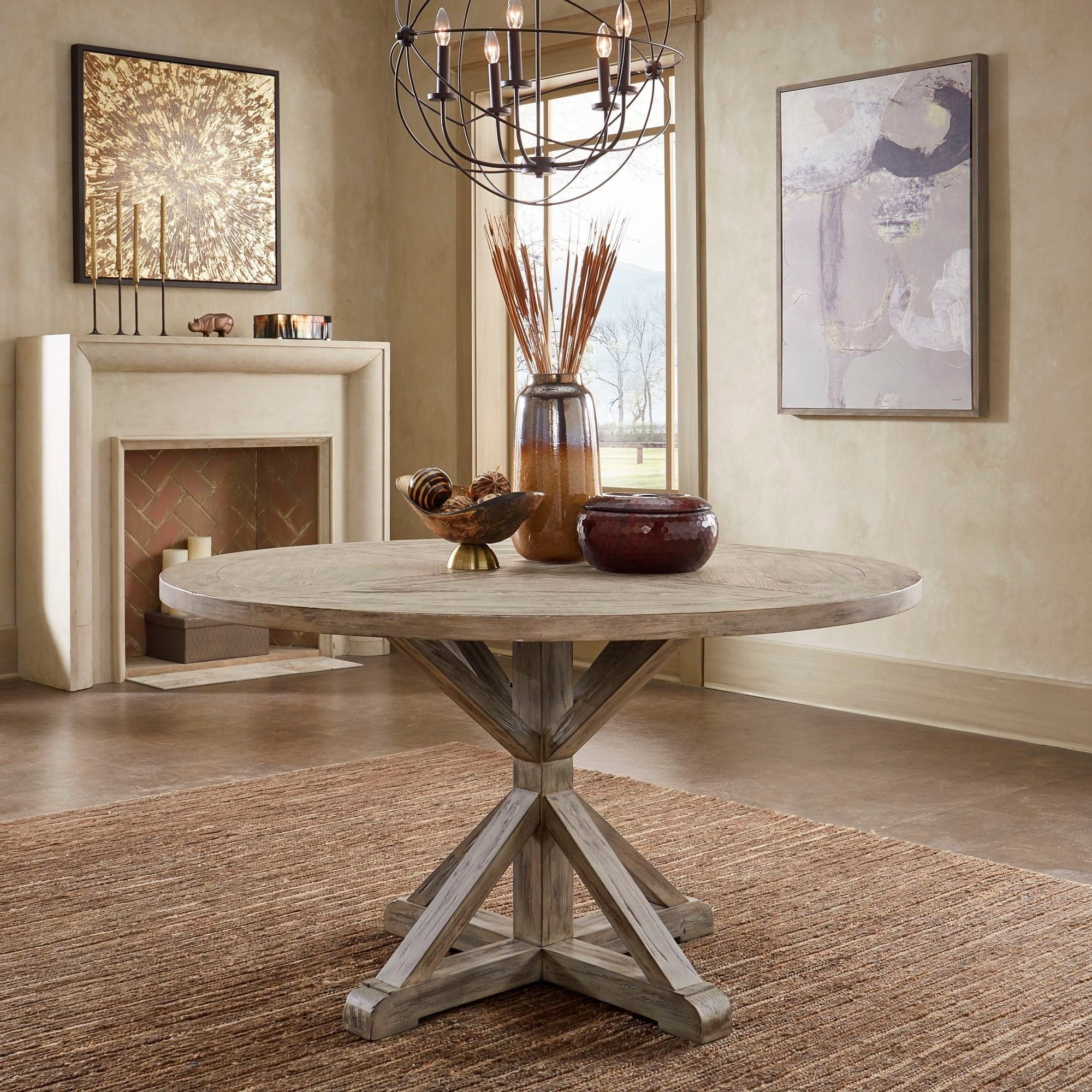 Newest Benchwright Antique Grey Oak Round Dining Tableinspire Q Artisan in Blackened Oak Benchwright Dining Tables