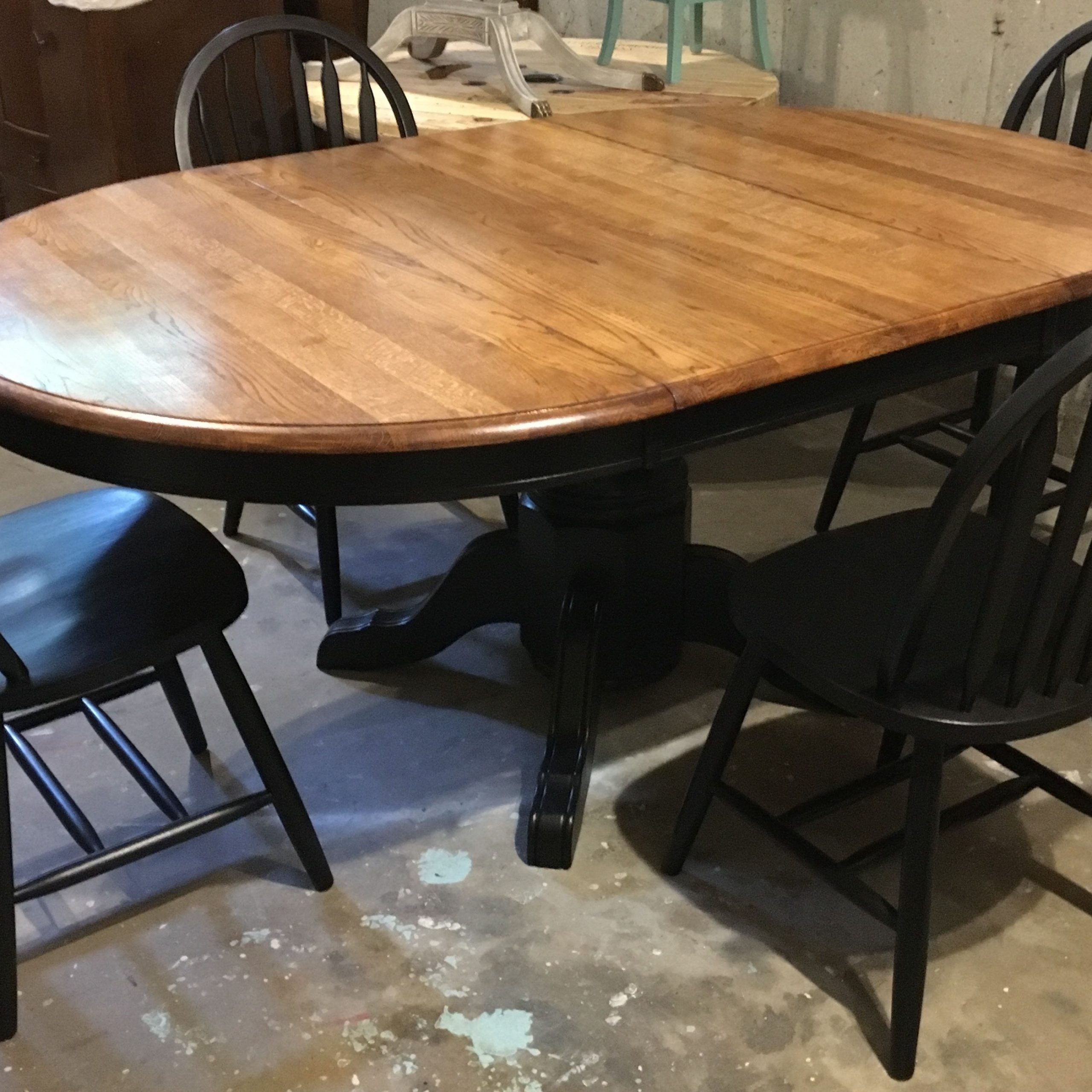 Newest Blackened Oak Benchwright Dining Tables for Oak Tabletop With Large Leaf, Sanded Down To Raw Wood And