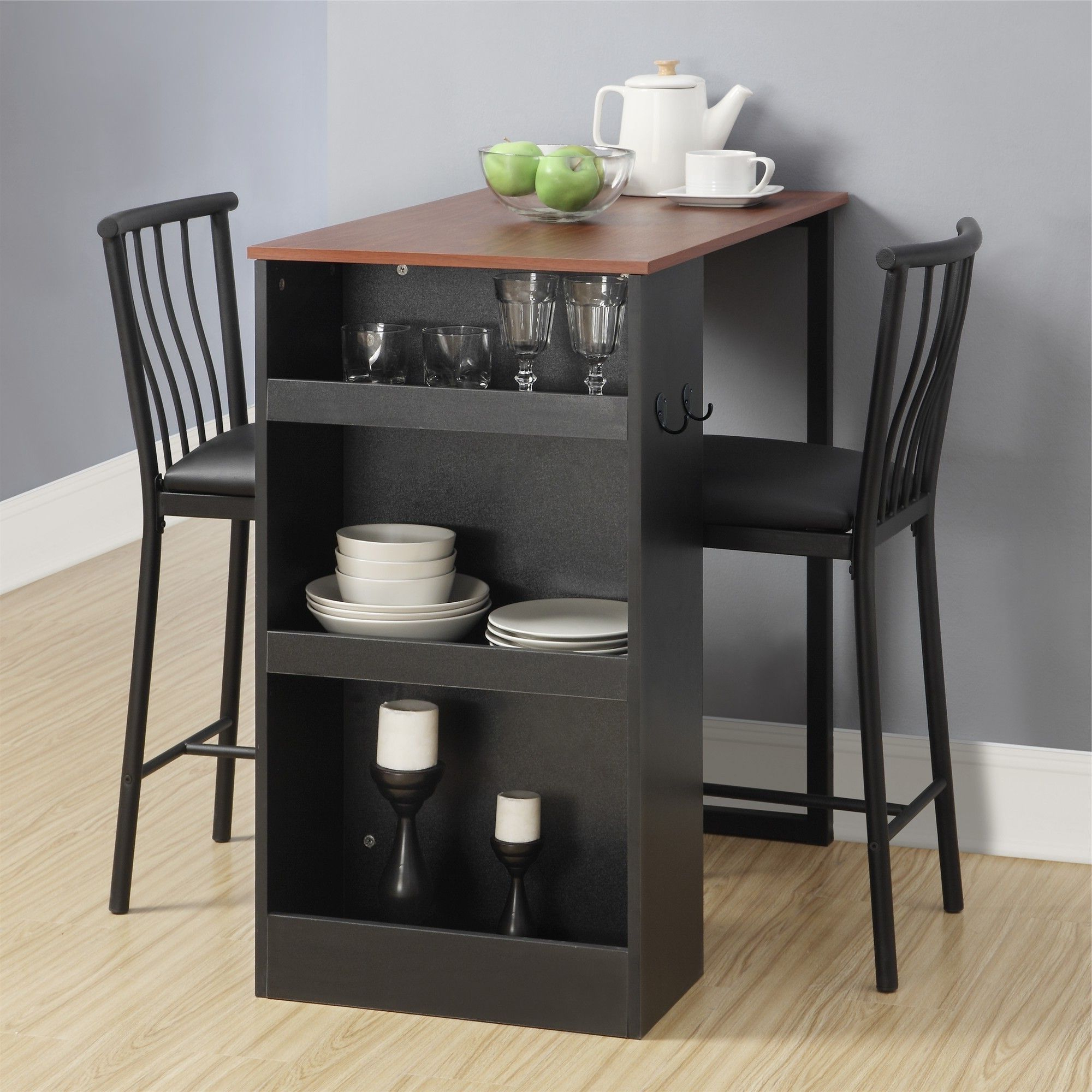 Newest Griffin Reclaimed Wood Bar-Height Tables pertaining to Avenue Greene 3-Pc Counter Height Bar Set (Black)