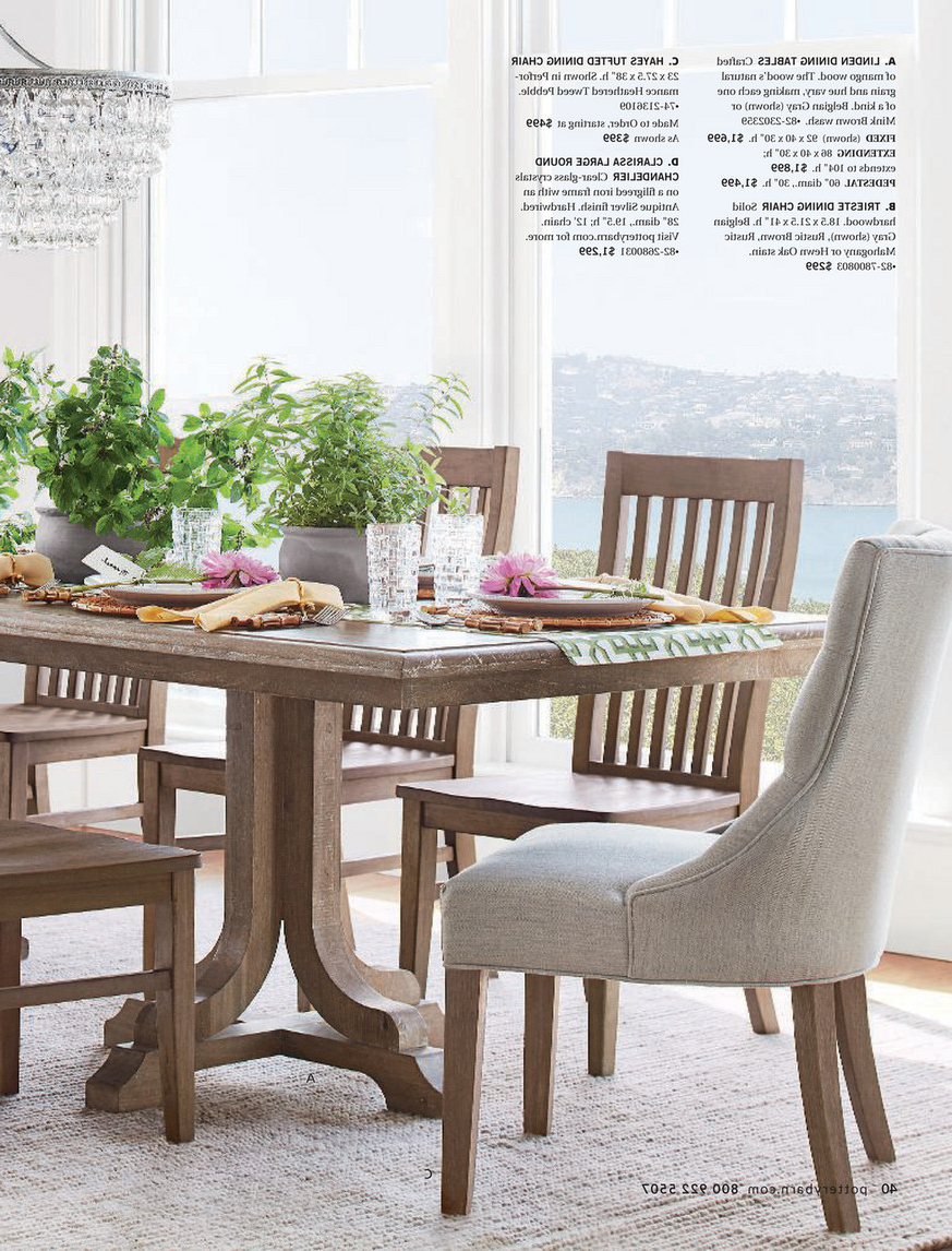 Newest Pottery Barn - Winter 2018 D2 - Linden Pedestal Dining Table pertaining to Gray Wash Lorraine Extending Dining Tables