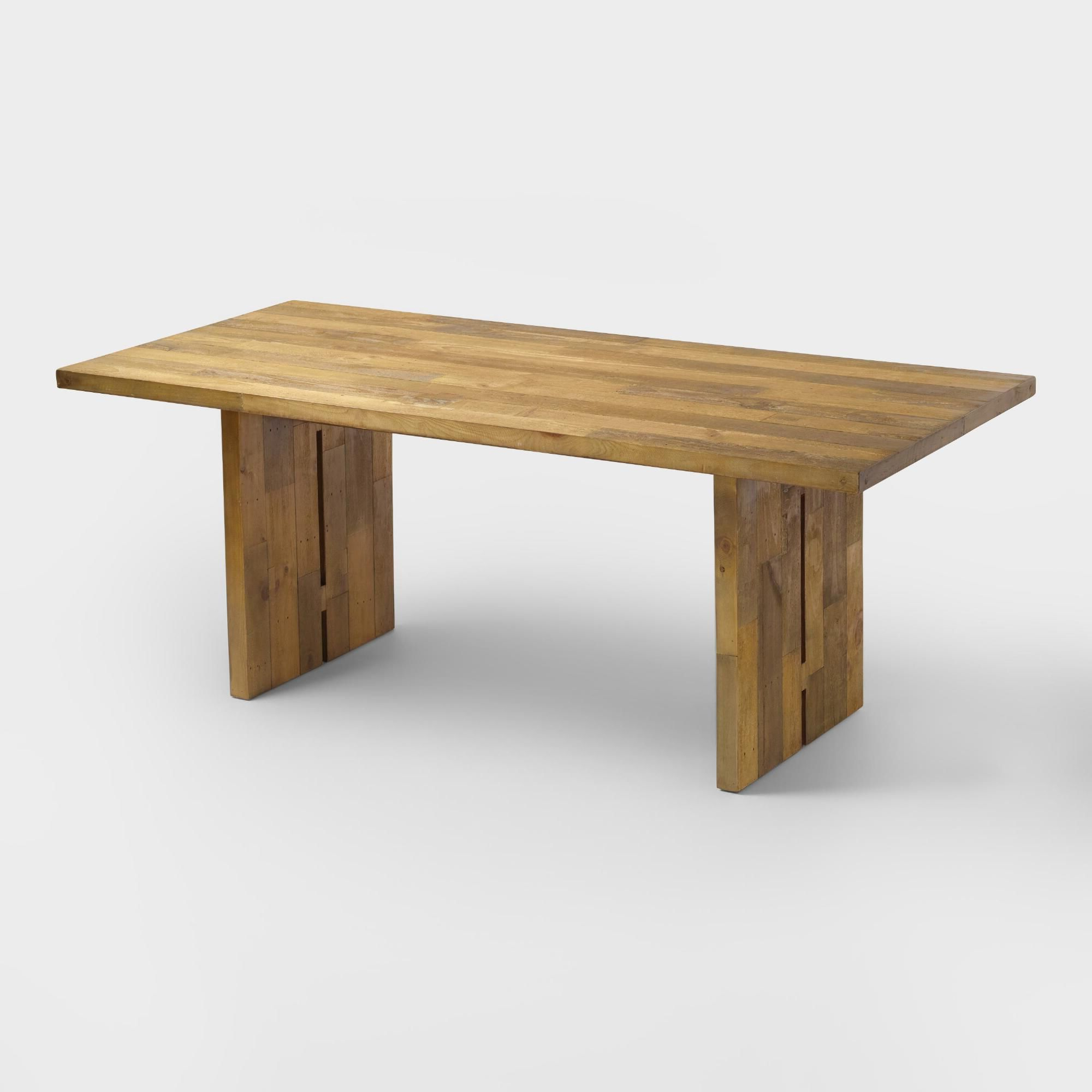 Newest Reclaimed Pine Nolan Dining Table: Natural - Woodworld throughout Nolan Round Pedestal Dining Tables