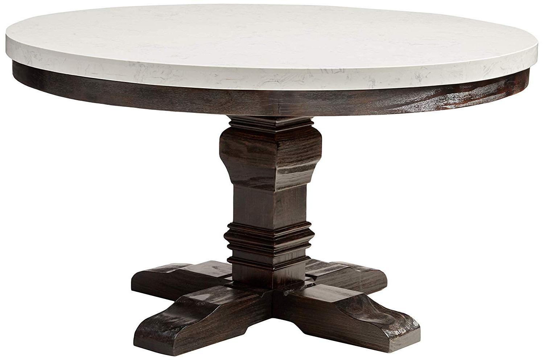 Nolan Round Pedestal Dining Tables in Best and Newest Acme Furniture Nolan Pedestal Dining Table, White Marble/salvage Dark Oak