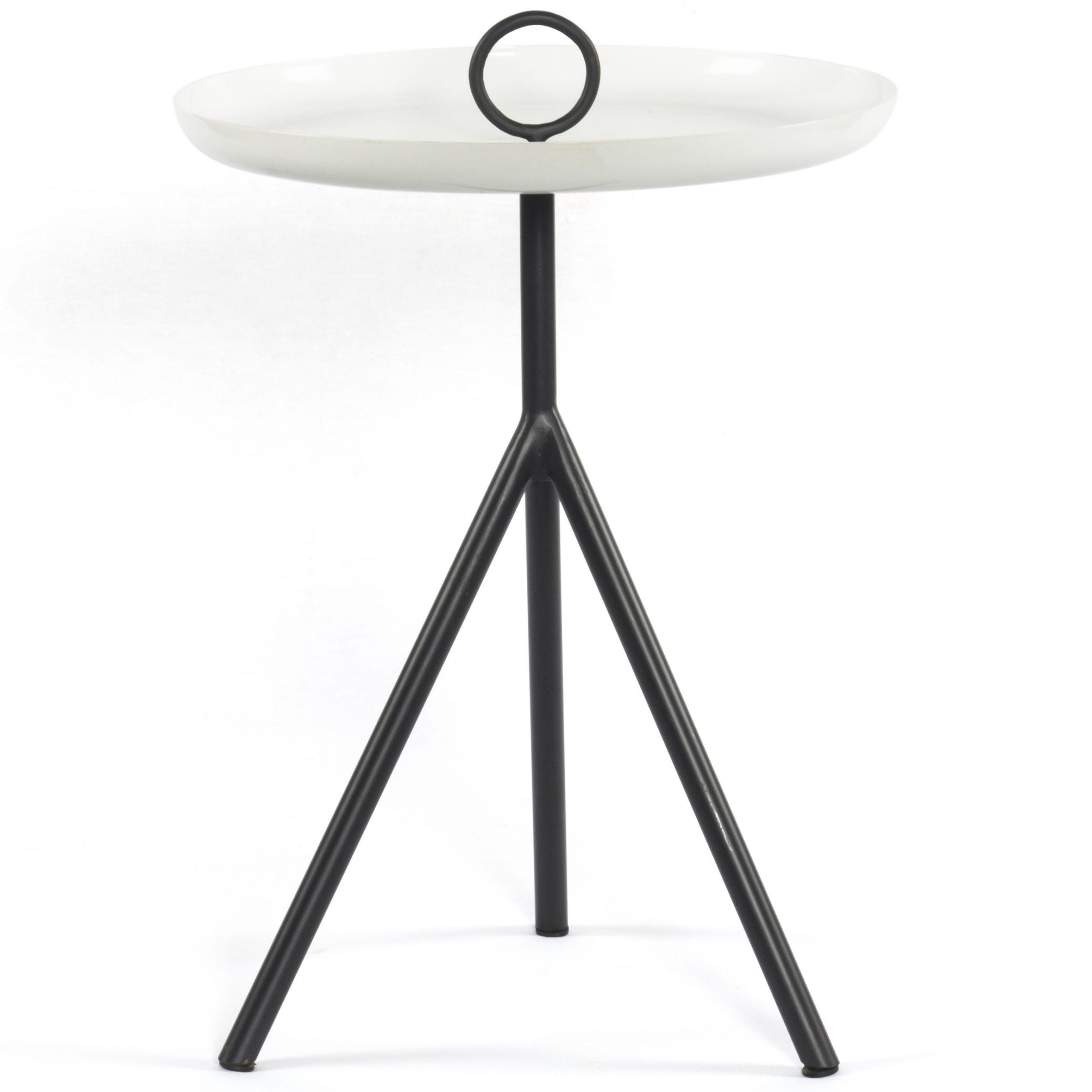 Nolan Round Pedestal Dining Tables inside 2020 Four Hands Nolan Charcoal / Satin White 15'' Wide Round Pedestal Table