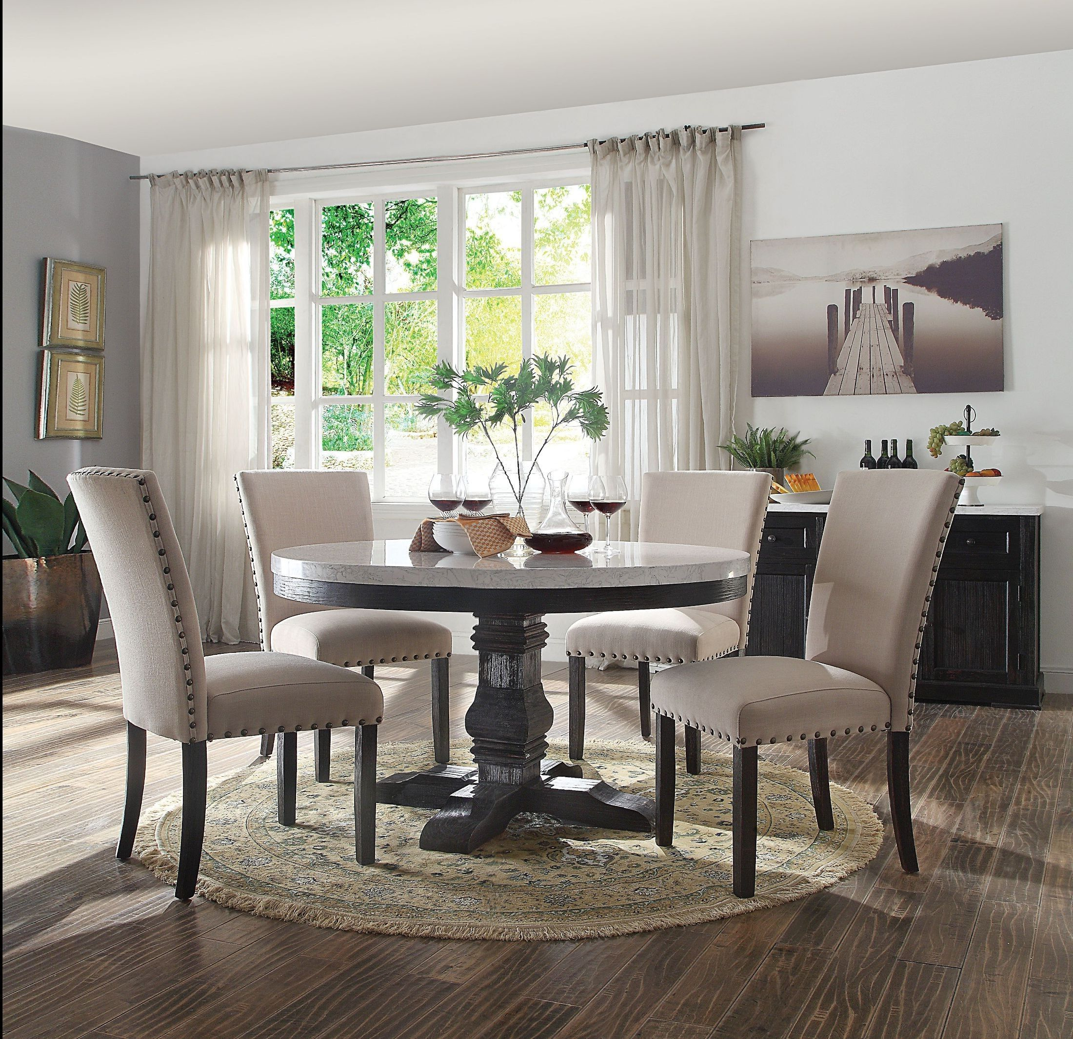 Nolan White Marble And Salvage Dark Oak Pedestal Dining Room with regard to Latest Nolan Round Pedestal Dining Tables