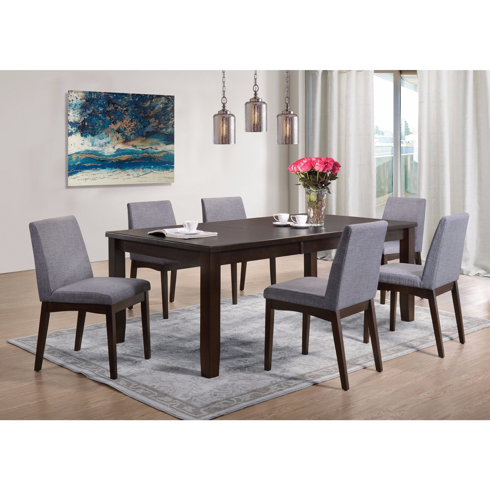 Picket House Furnishings Pyke 7Pc Dining Set Table & 6 Dining Chairs Regarding Preferred Ingred Extending Dining Tables (View 18 of 25)