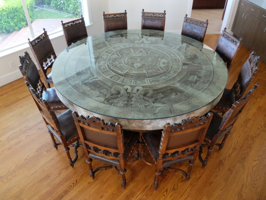 Popular Client Spotlight: Antique Chairs & Aztec Calendar Stone In Aztec Round Pedestal Dining Tables (View 7 of 25)
